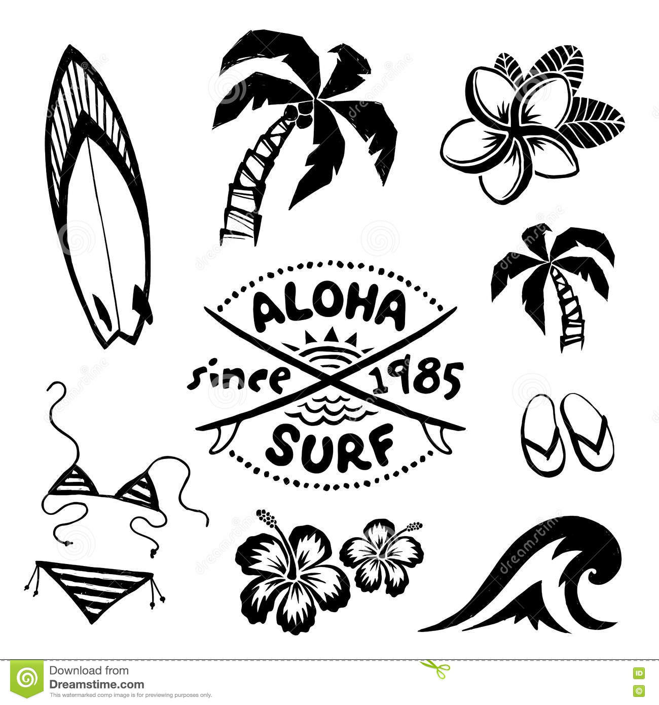 Tropical Surfing And Relax Symbols Ink Sketch Set In