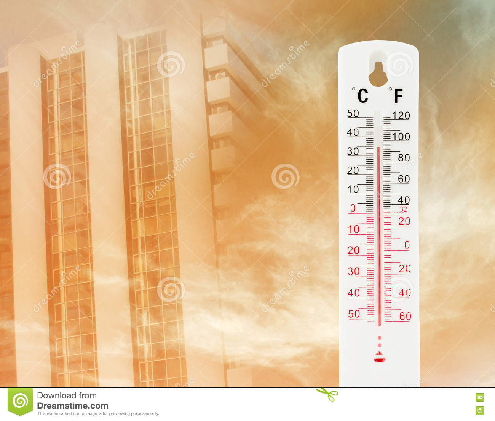 Tropical Temperature Of 34 Degrees Celsius Measured Stock