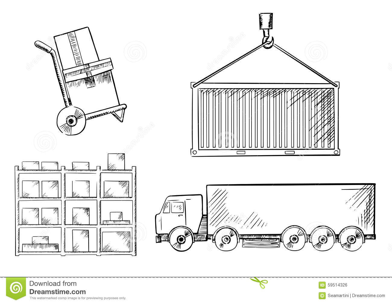 Truck Container Hand Truck And Racks Stock Vector