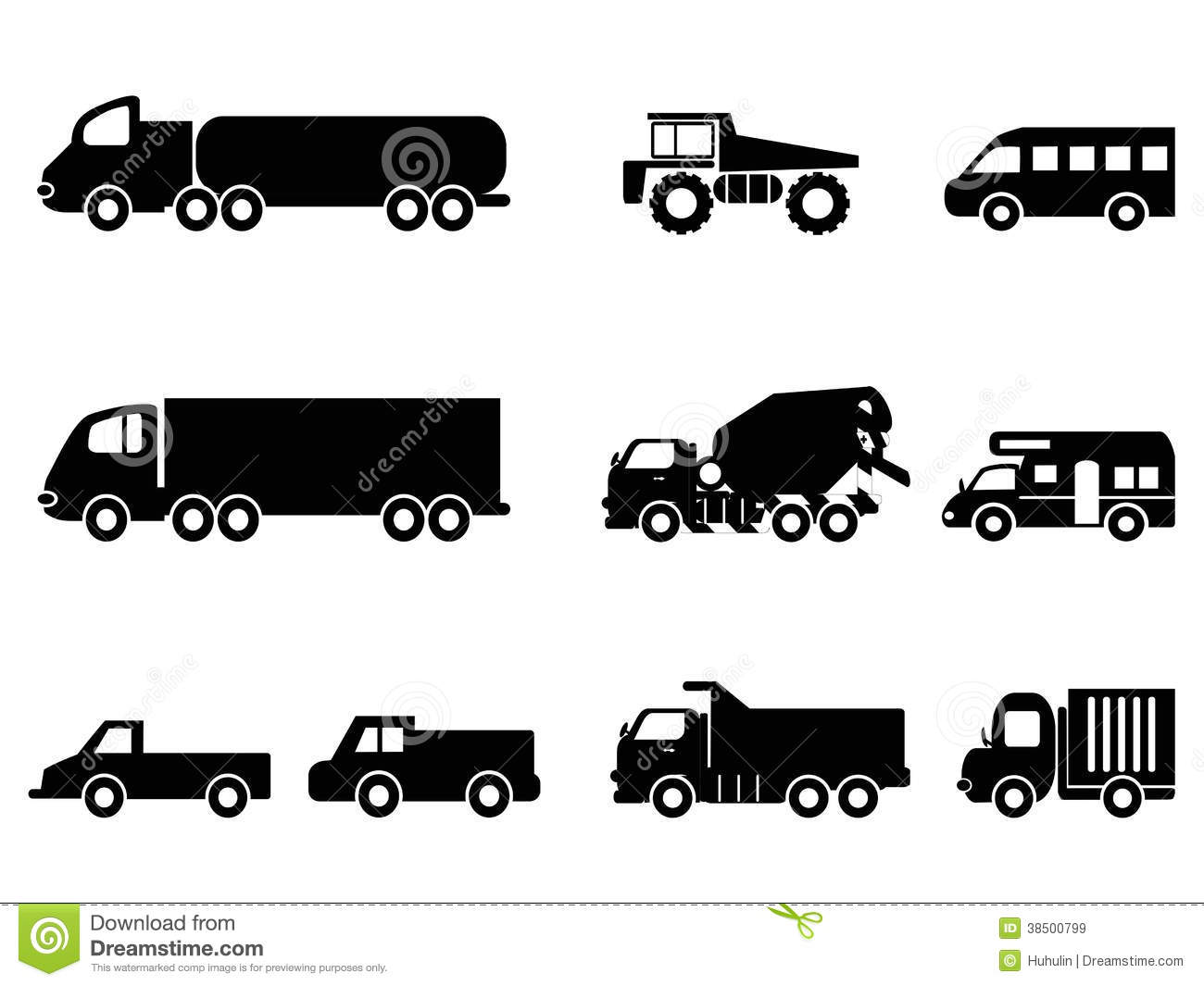 Truck Icons Set Stock Vector Illustration Of Semi Fuel