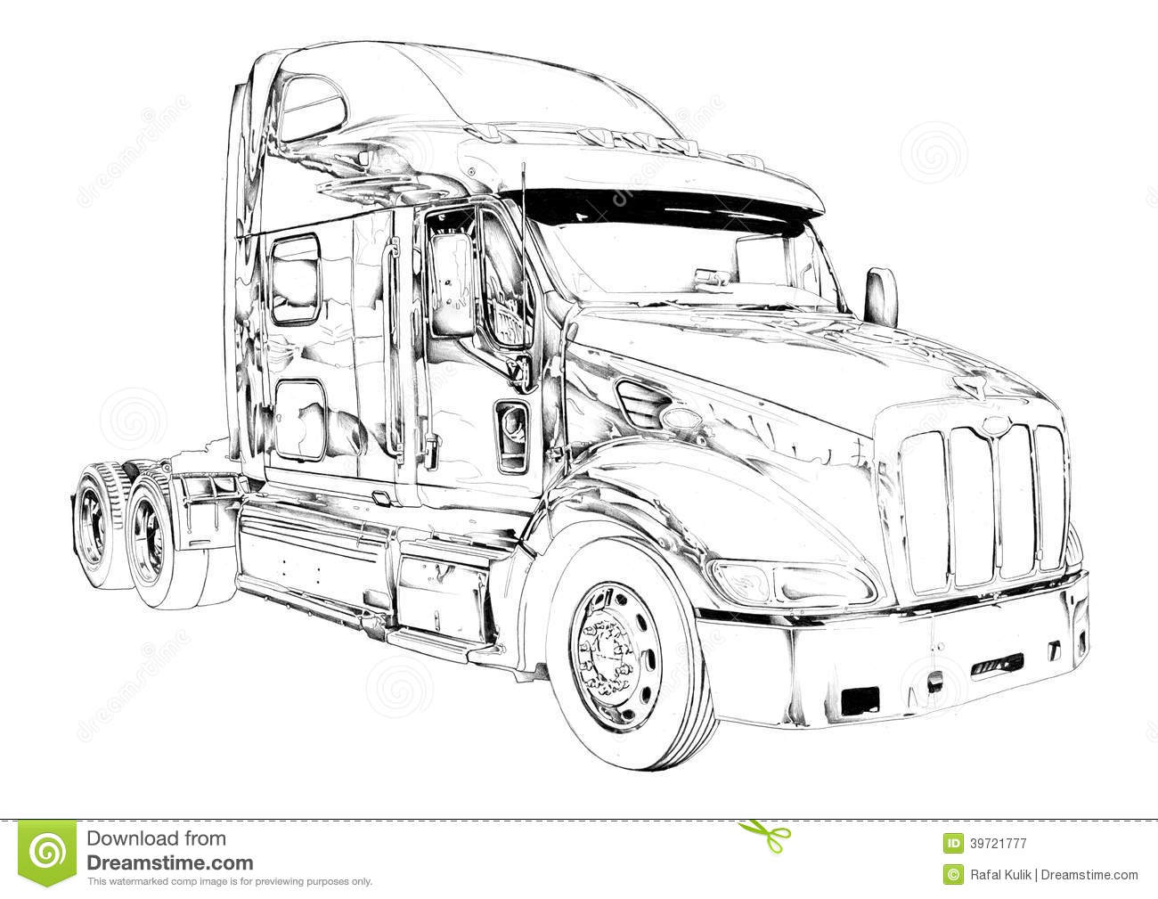 Truck Illustration Color Isolated Art Drawing Stock