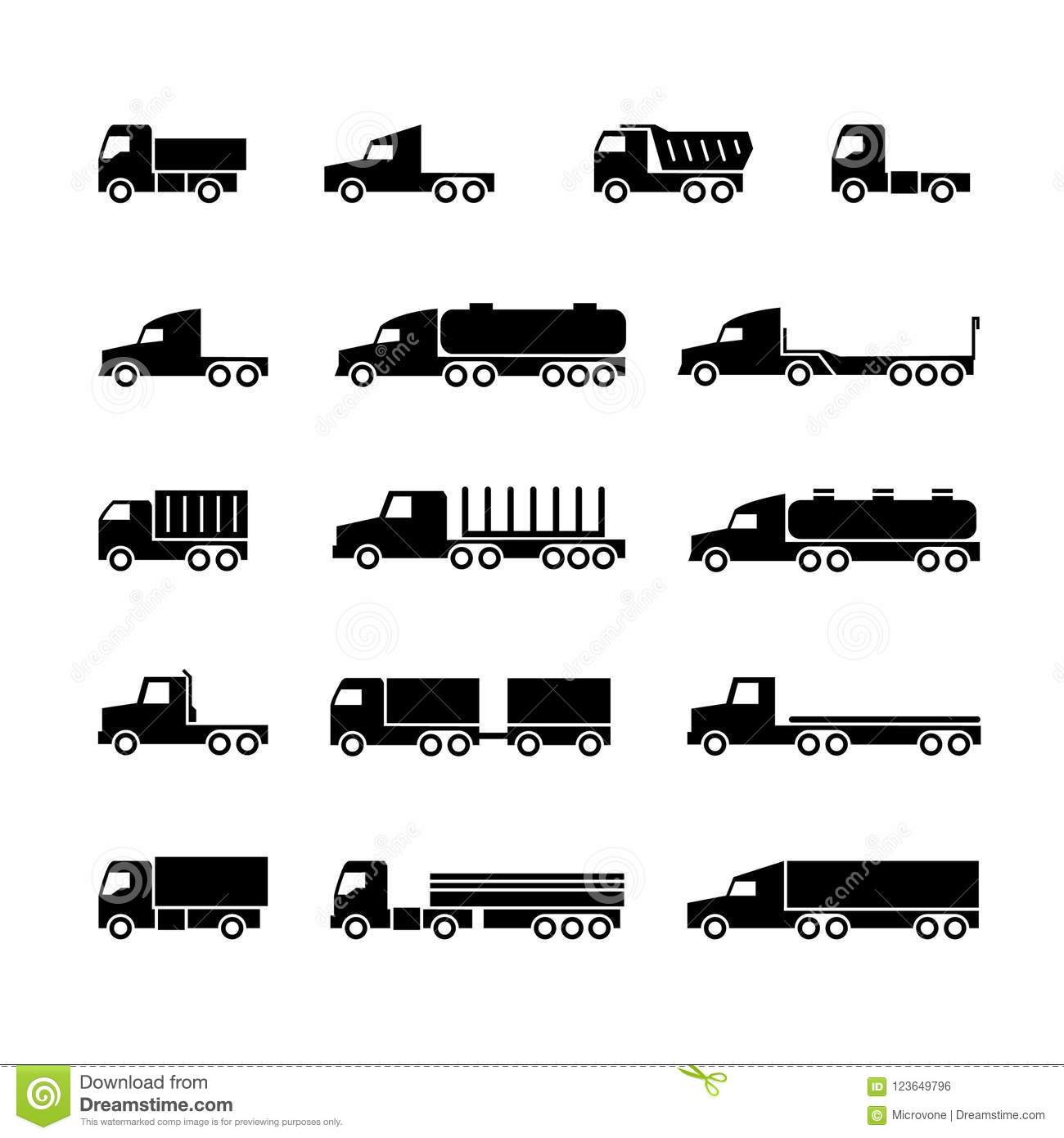 Truck Silhouette Icons Shipping Cargo Trukcs Dumpers