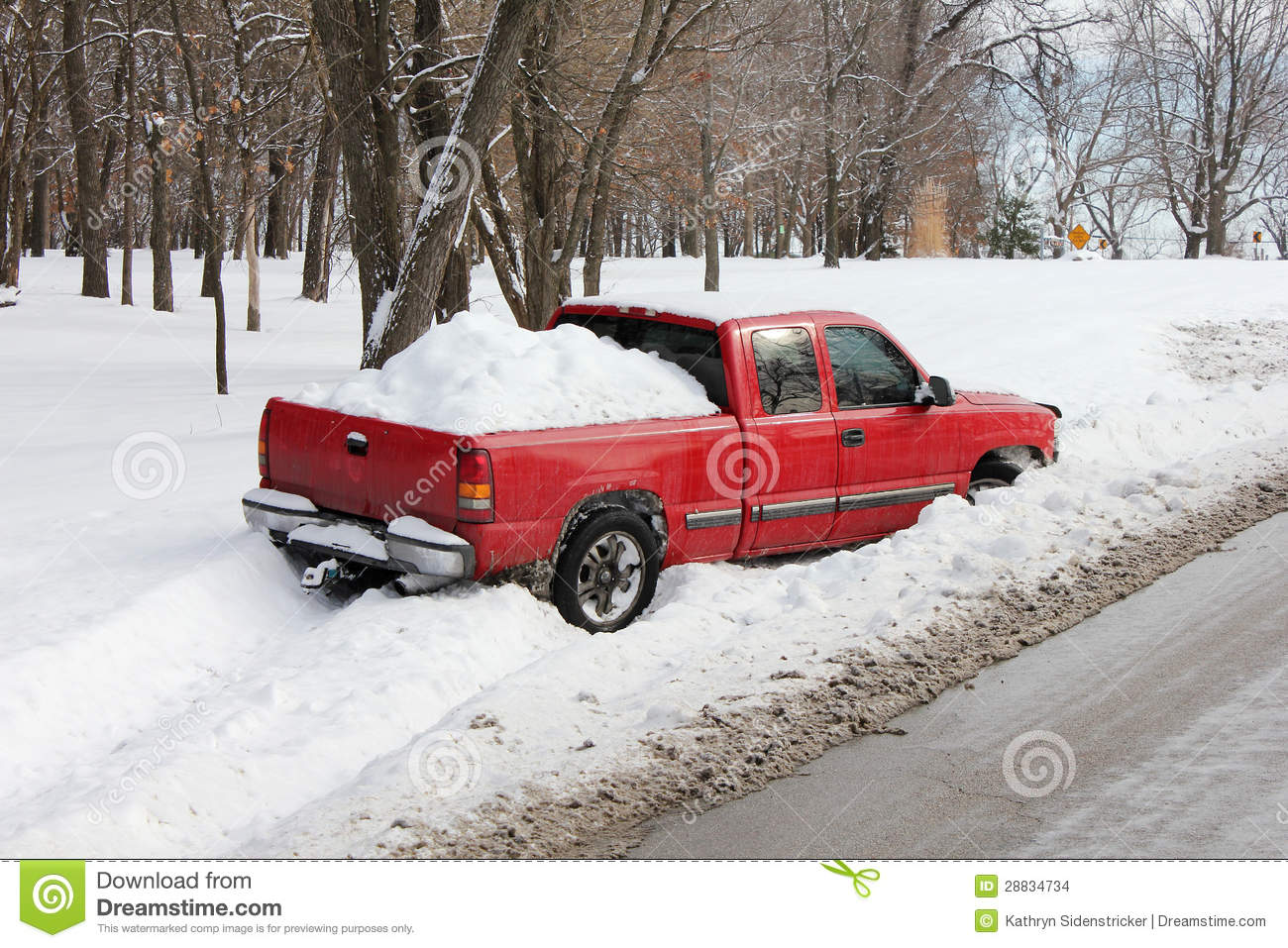 Truck Stuck In Snowbank Or Ditch Stock Photo Image 28834734