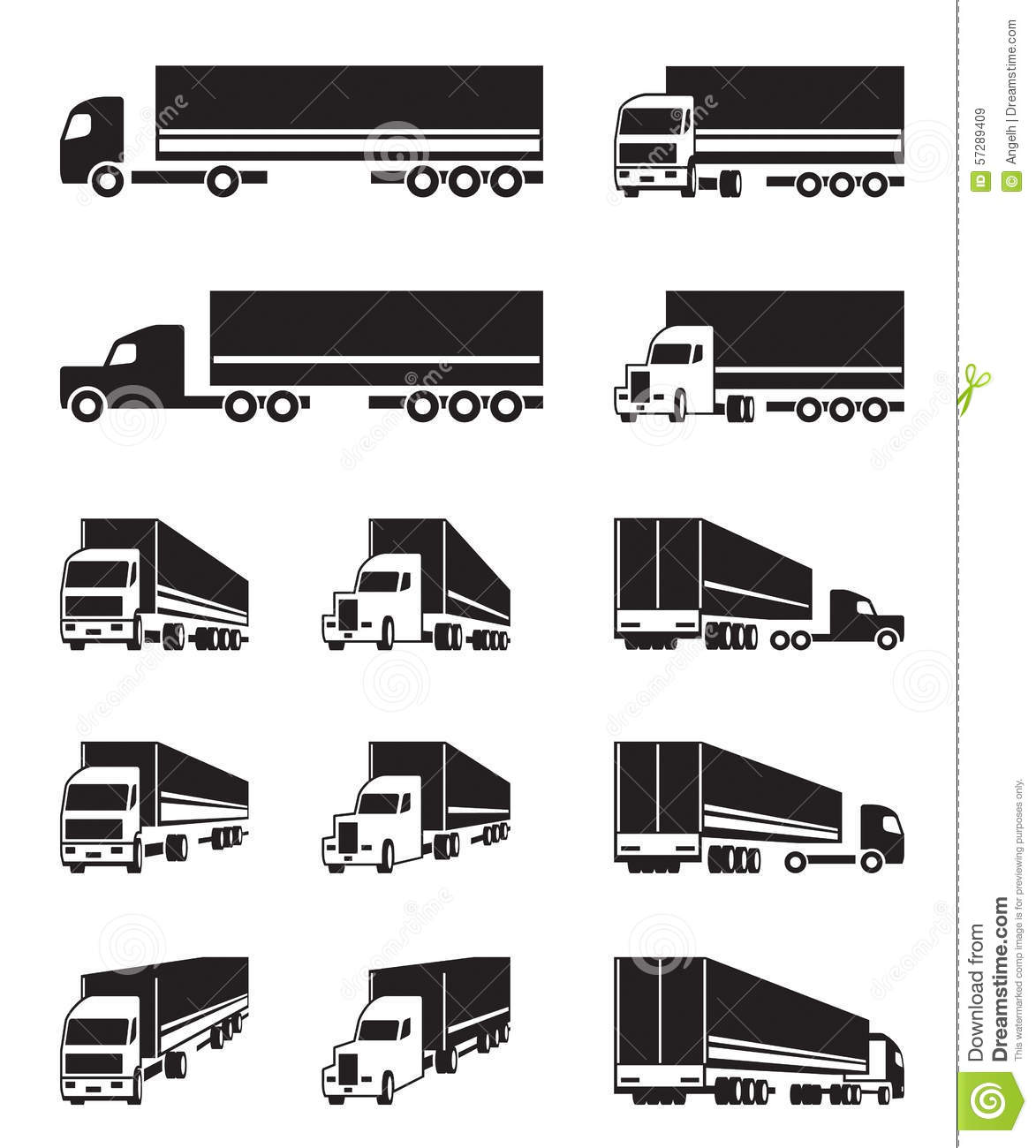 Trucks In Different Perspective View Stock Vector