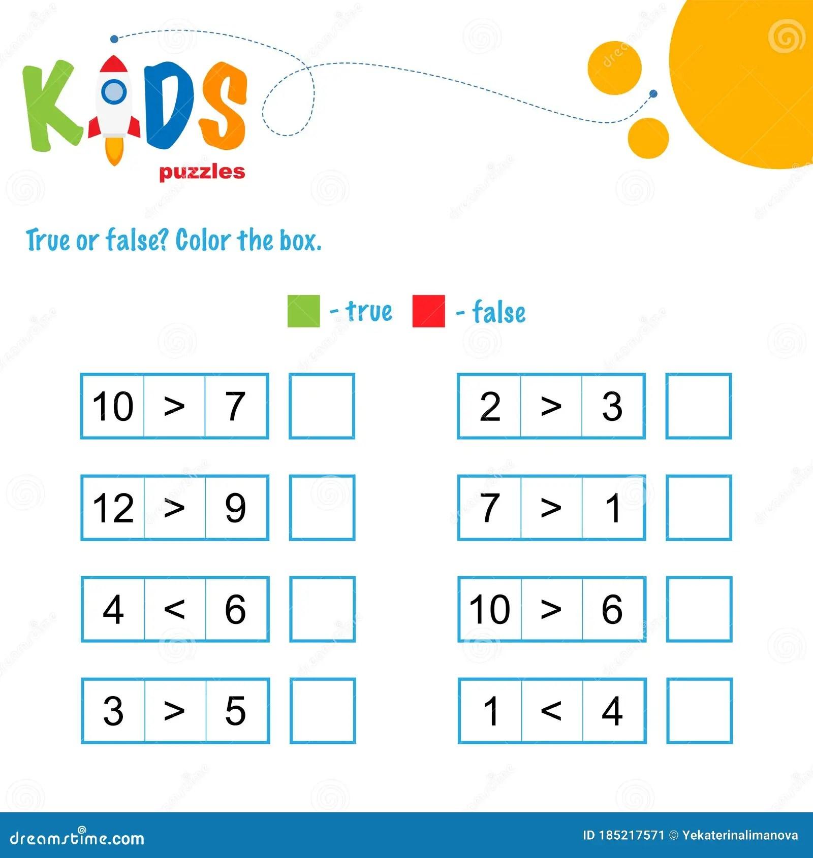True Or False Math Worksheet Stock Vector