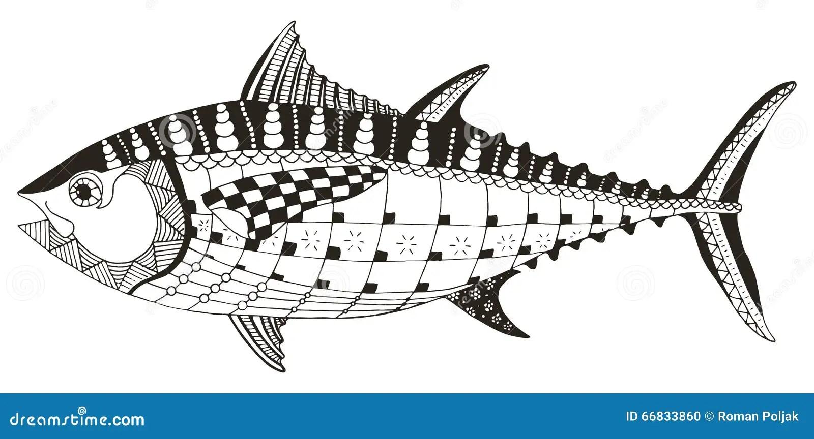 Tuna Fish Zentangle Stylized Vector Illustration