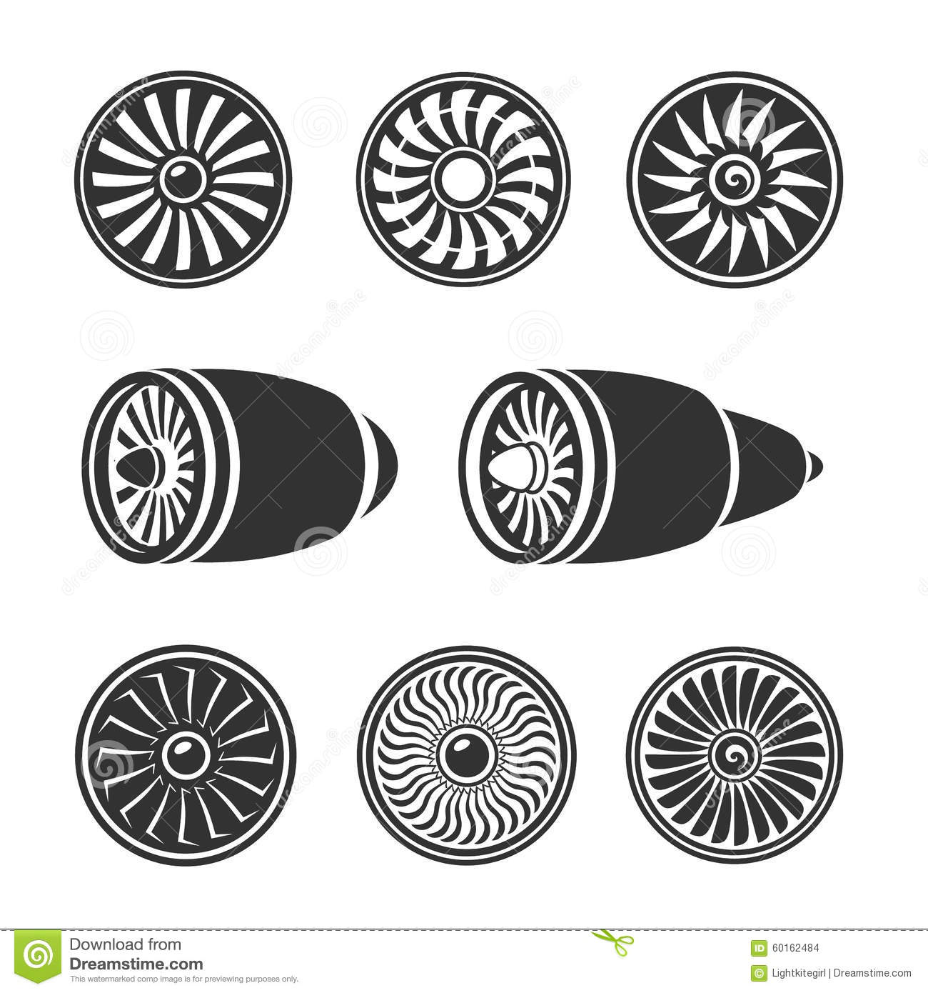 Turbines Icons Set Airplane Engine Silhouettes Stock