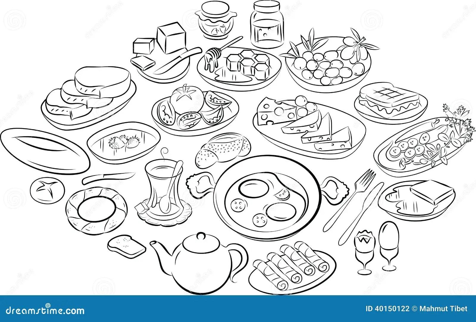 Turkish Breakfast Stock Vector Illustration Of Meal