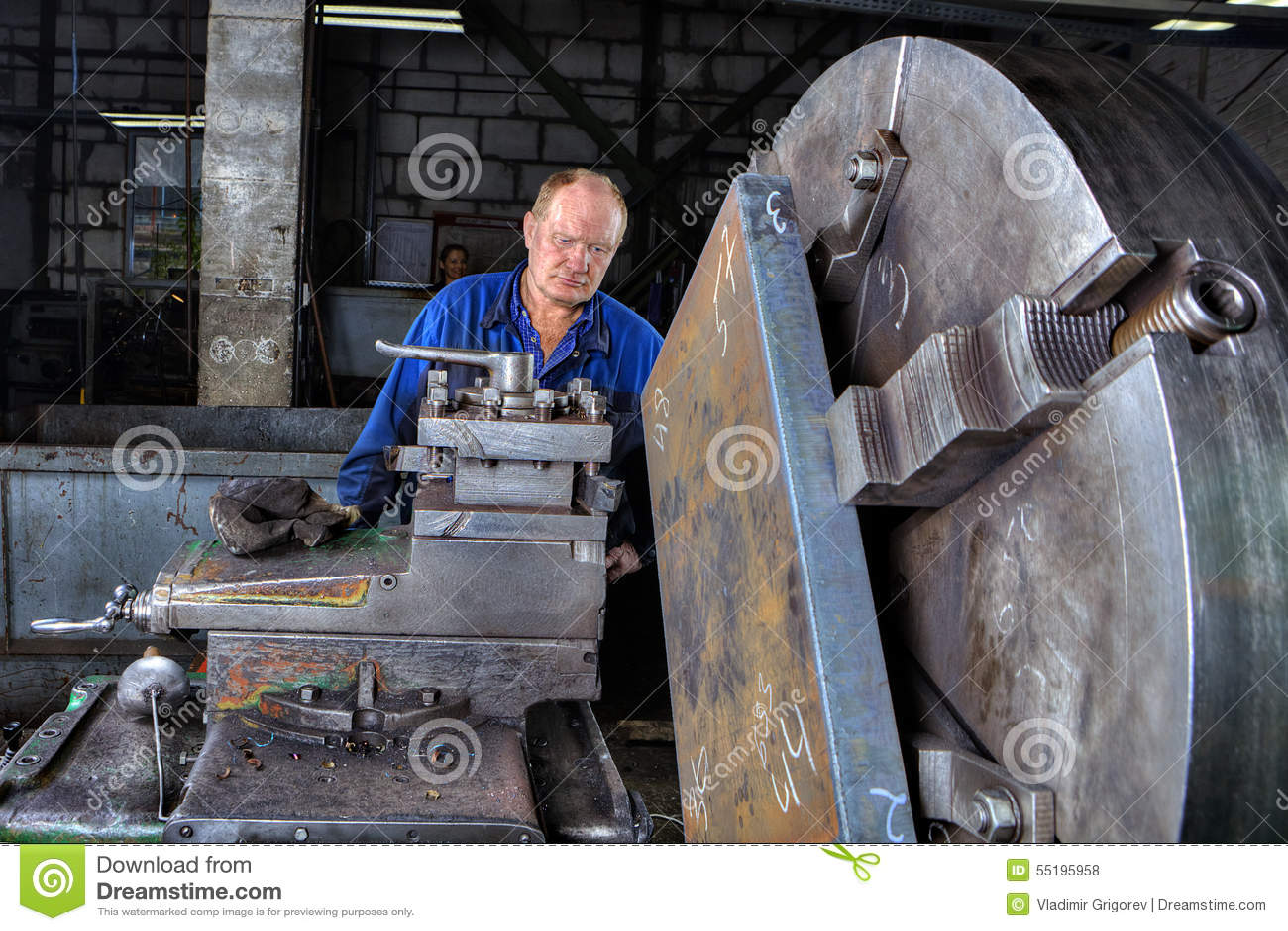 Turner Machine Operator Controls Processing Of Metal Big