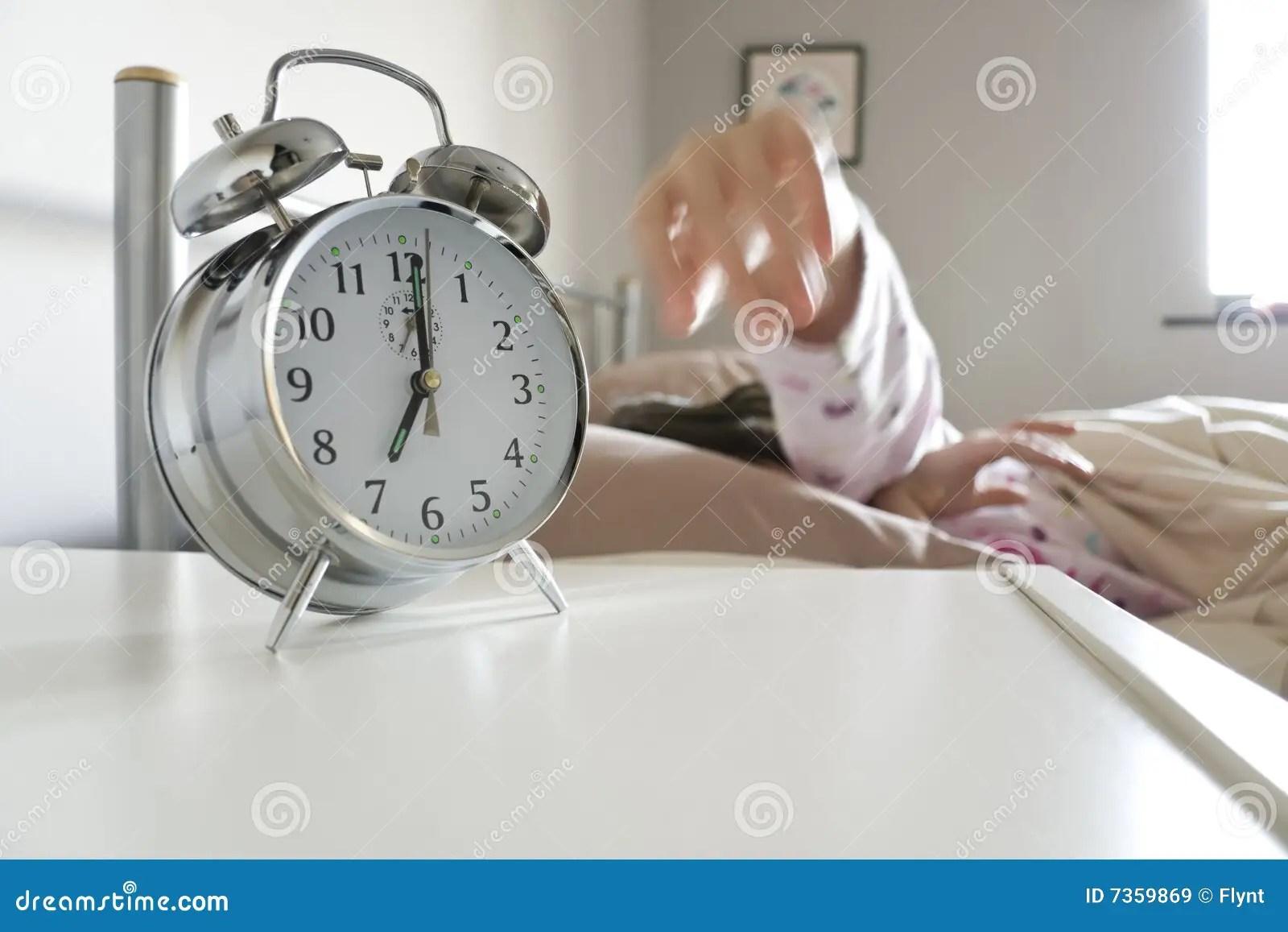 Turning Off Alarm Clock Royalty Free Stock Images Image