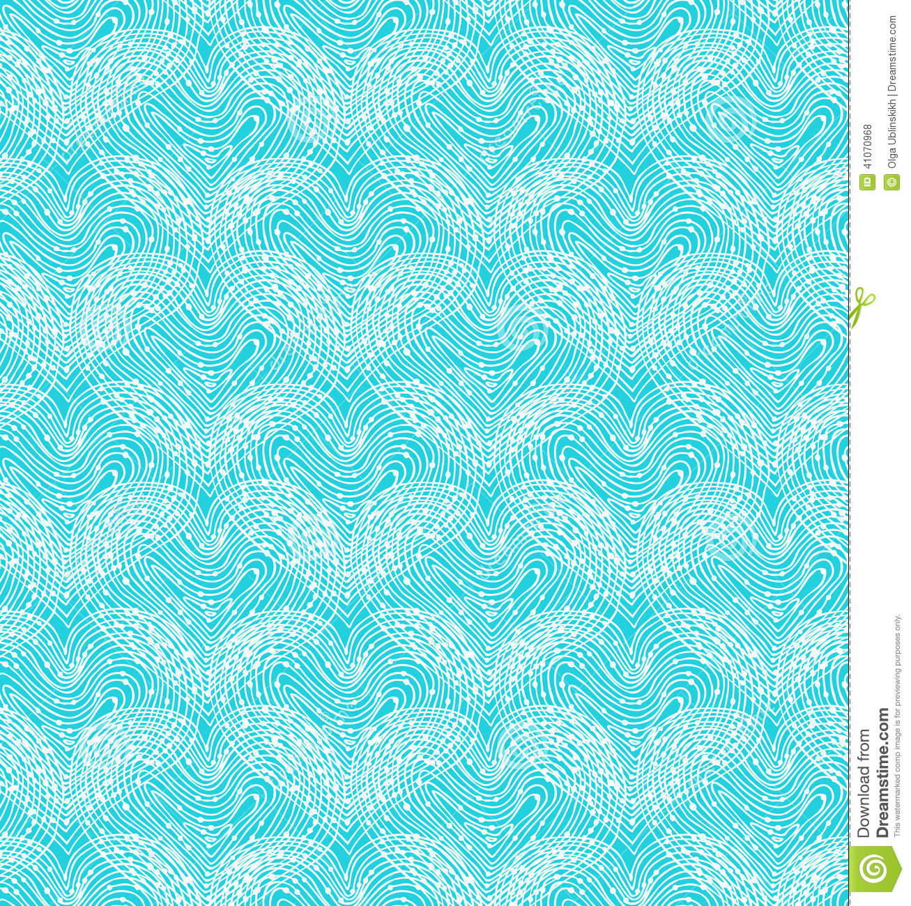 Turquoise Seamless Pattern With Linear Hearts Decorative