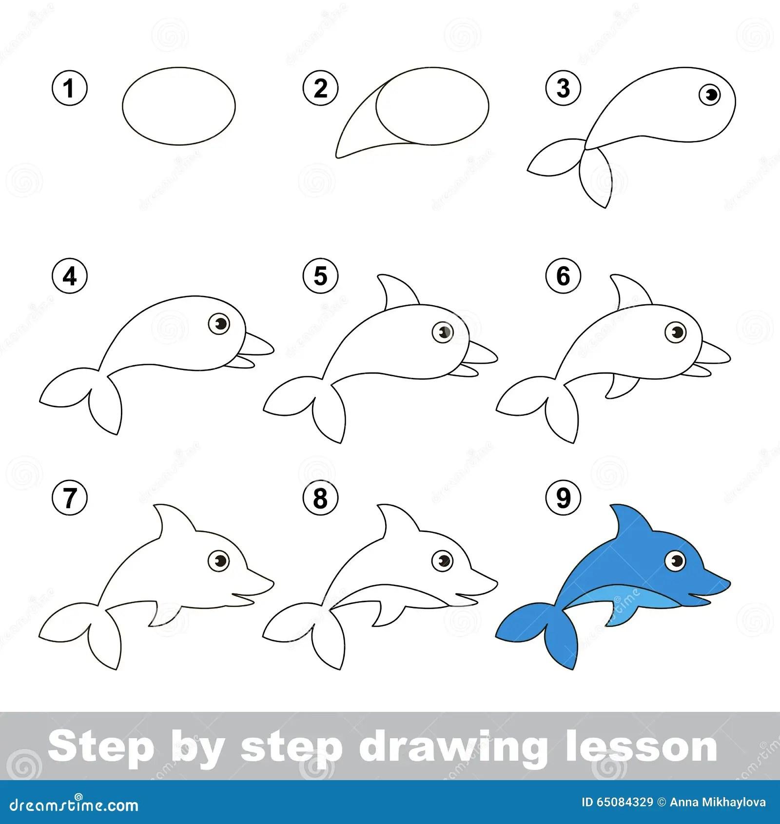 Tutorial Del Dibujo Como Dibujar Un Delfin Ilustracion Del