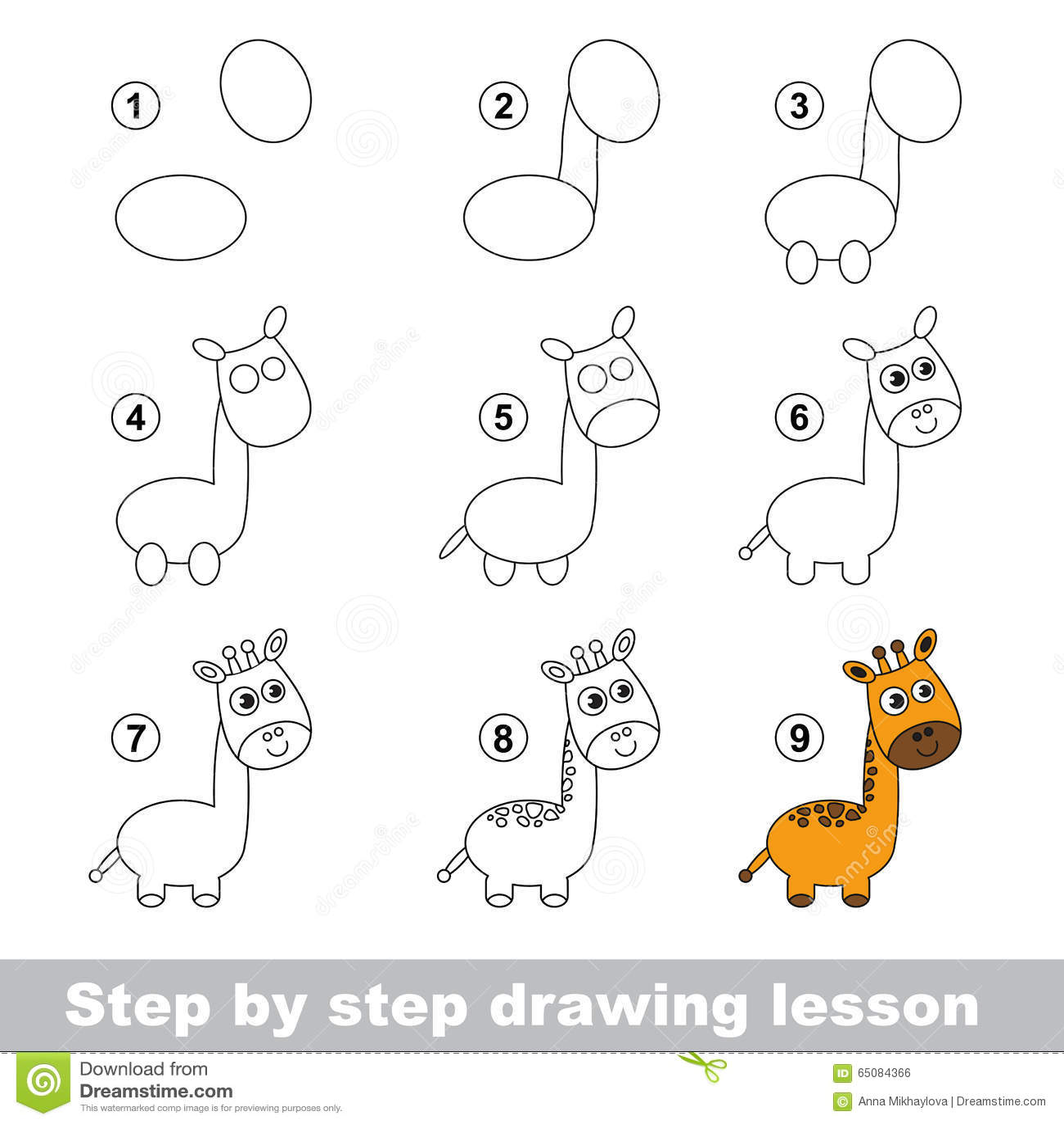 Tutorial Del Dibujo Como Dibujar Una Jirafa Ilustracion