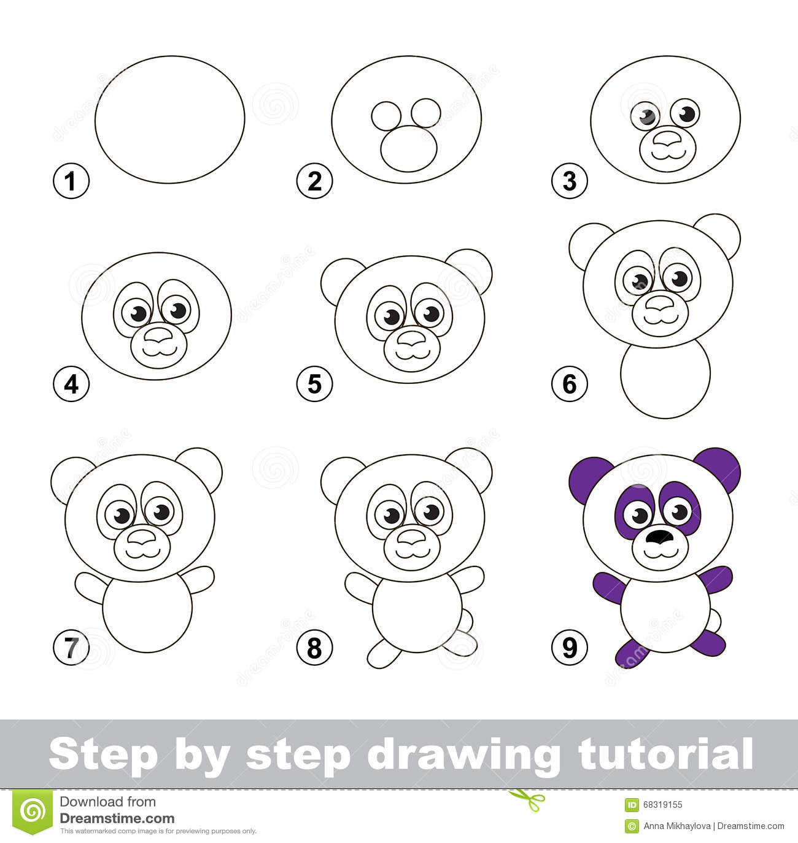 Tutorial Del Dibujo Como Dibujar Una Panda Ilustracion Del