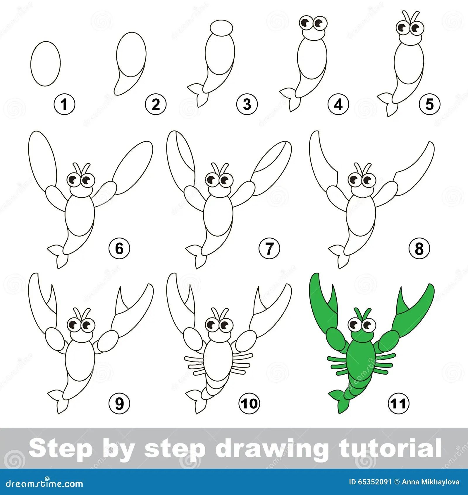 Tutorial Del Dibujo Como Dibujar Un Cangrejo Ilustracion