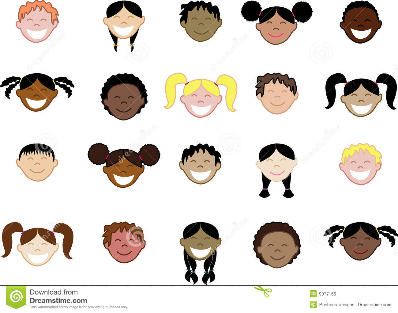 Twenty Different Children S Faces Royalty Free Stock