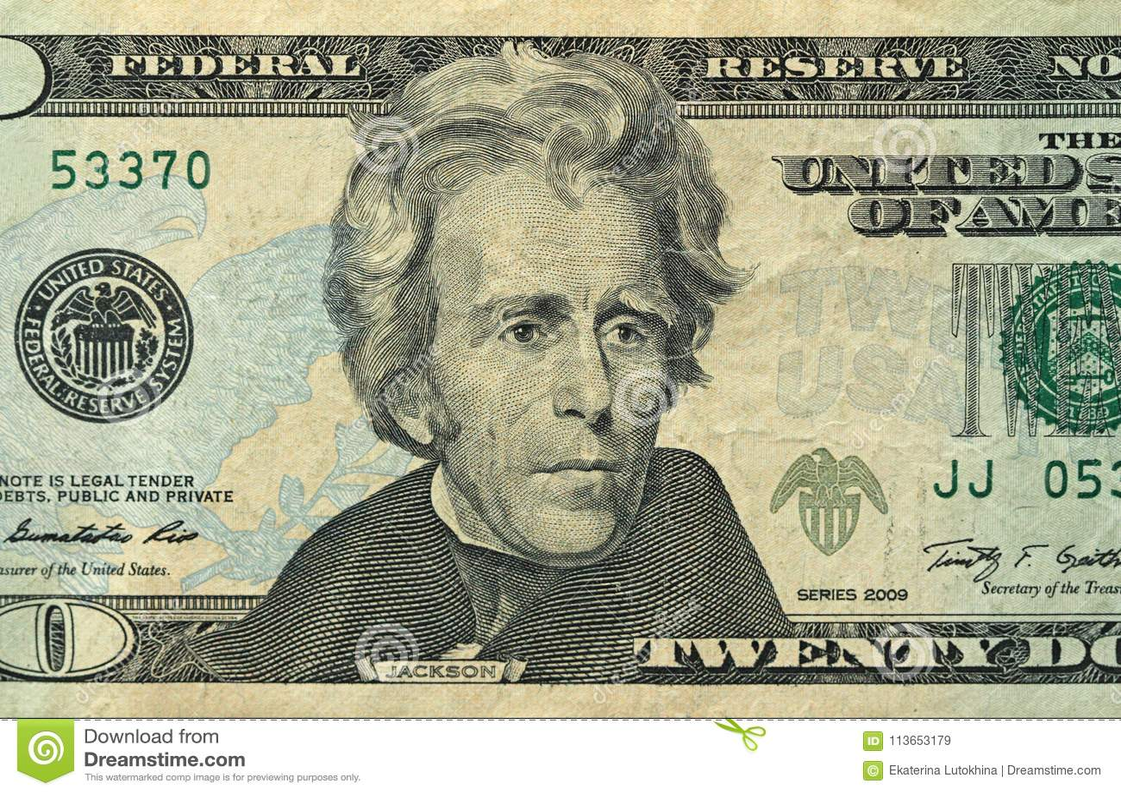 Twenty Dollars With One Note 20 Dollars Stock Image