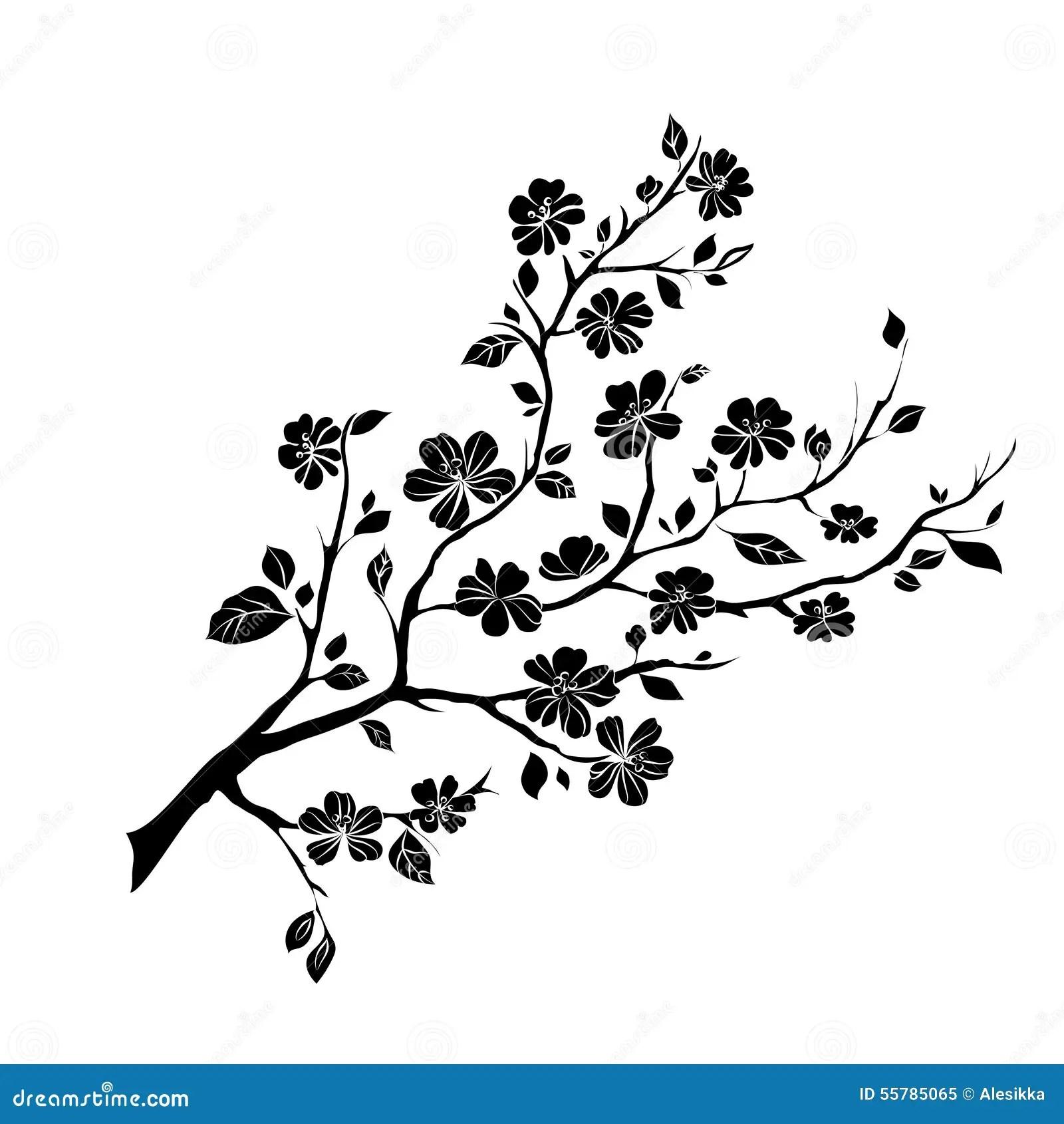 Twig Cherry Blossoms Stock Illustration
