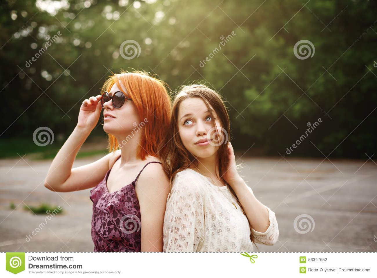 Two Best Friends Teen Girls Staying Together Stock Photo