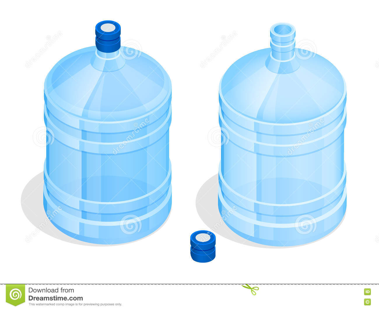 Different Water Bottles Isolated On White Stock Photo