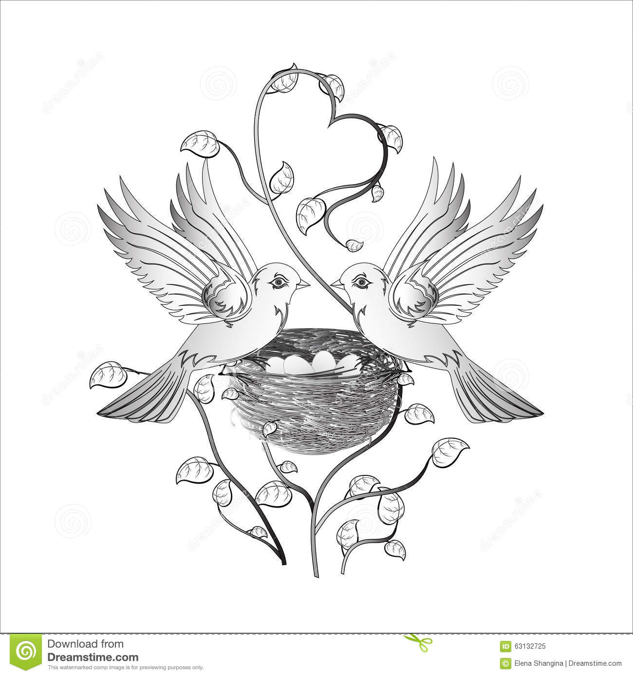 Two Birds In Love On A Nest Stock Vector