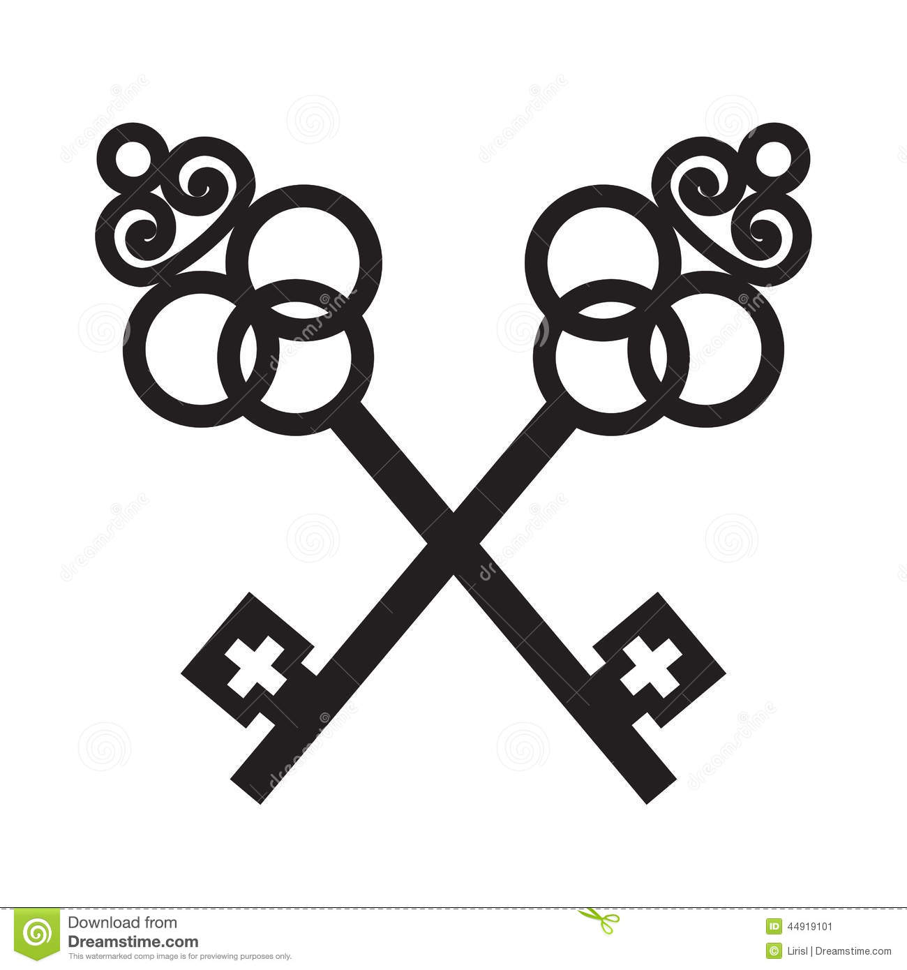 Two Crossed Ancient Keys Stock Vector