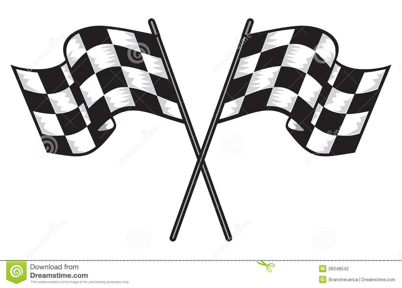 Two Crossed Checkered Flags Stock Photography