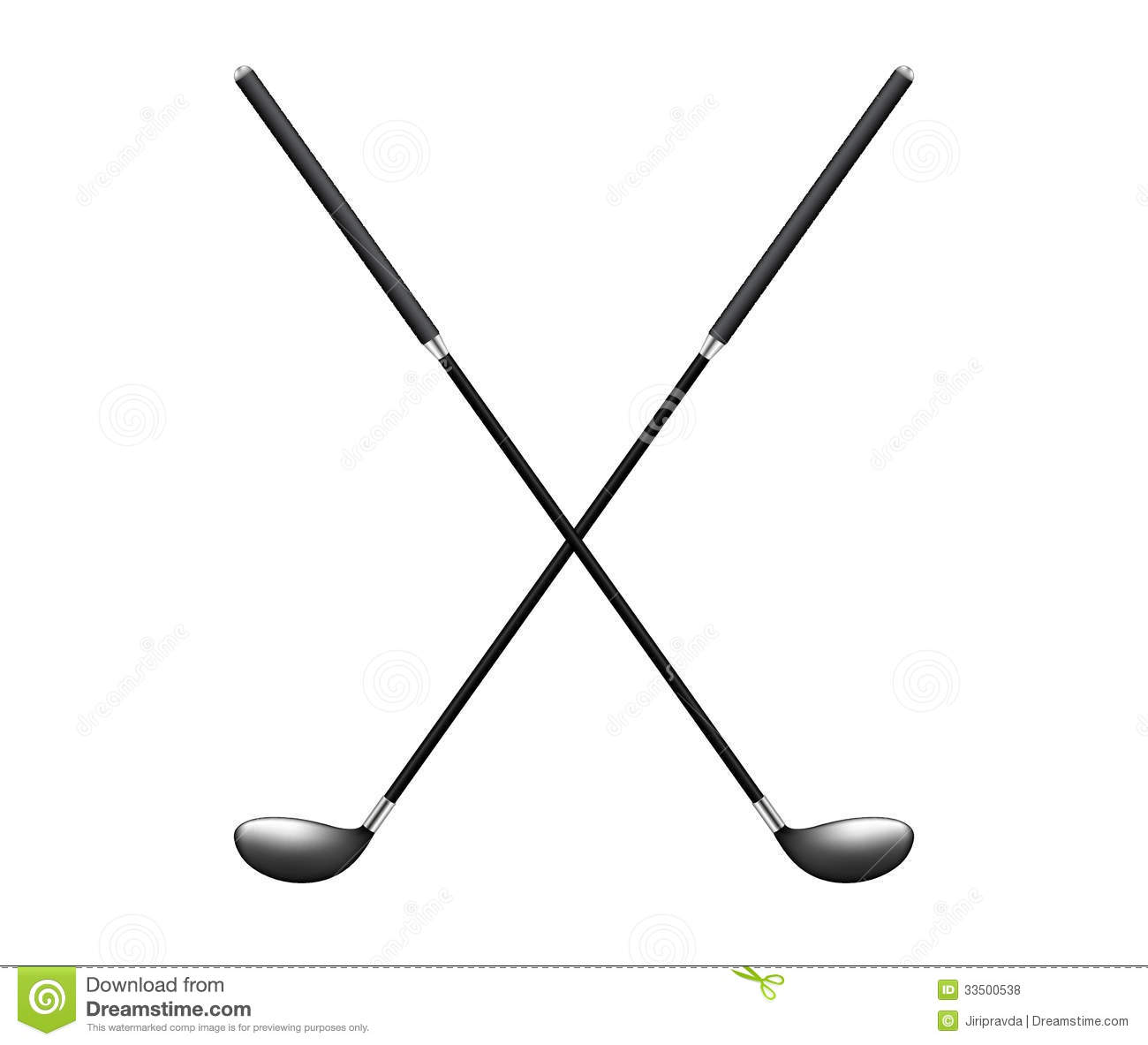 Two Crossed Golf Clubs Stock Vector Illustration Of