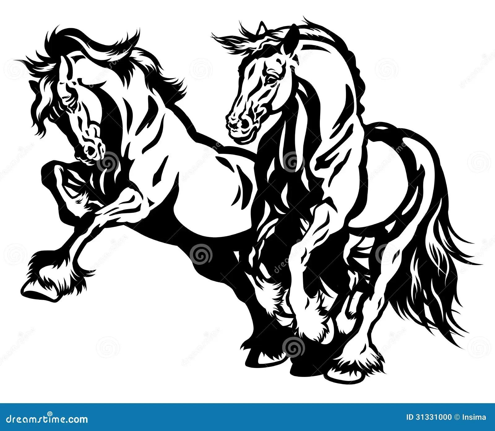 Two Draft Horses Black White Stock Vector