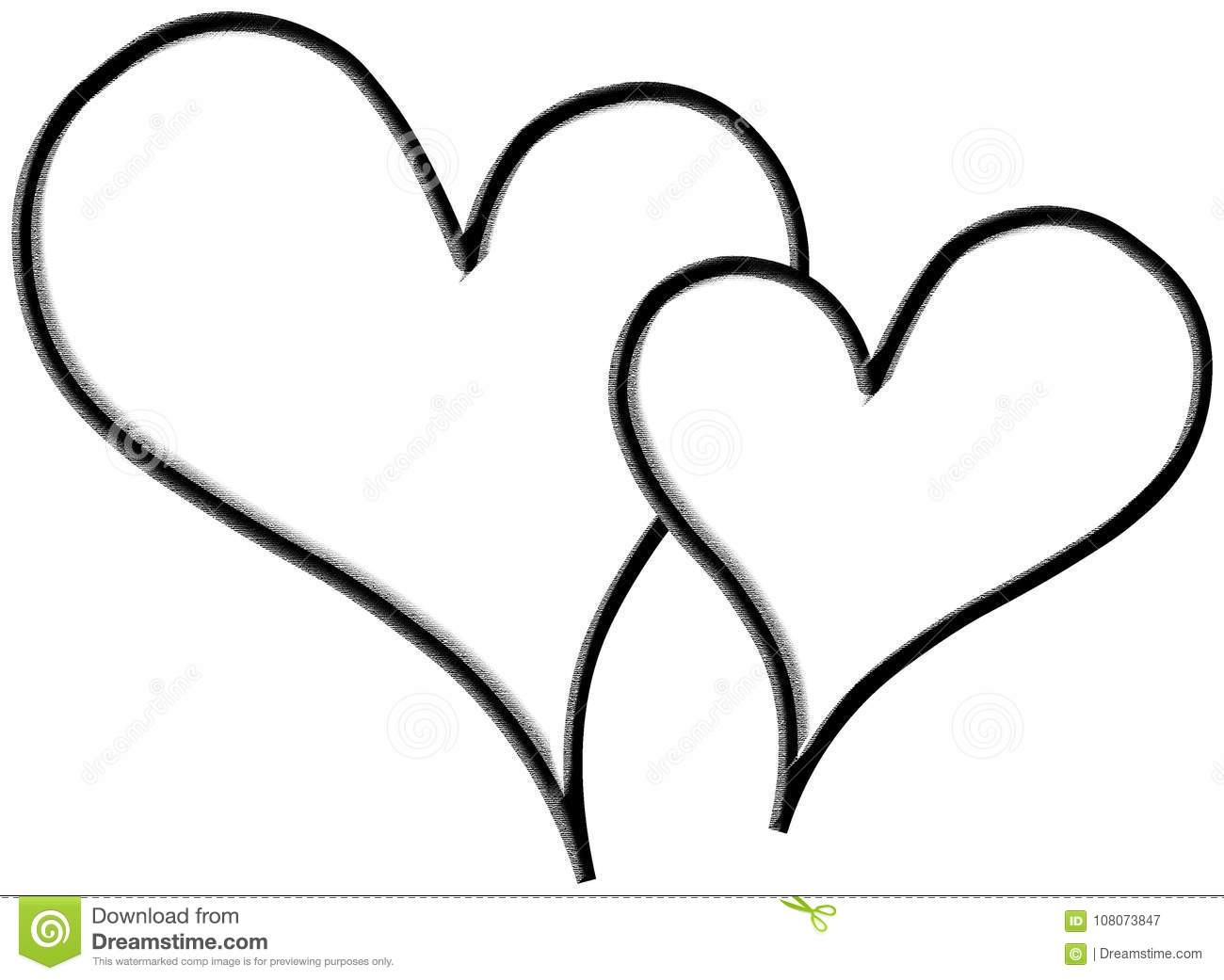Two Empty Hearts In White Background Stock Illustration