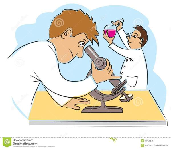 Two Funny Scientists At Research Work Stock Vector - Image ...