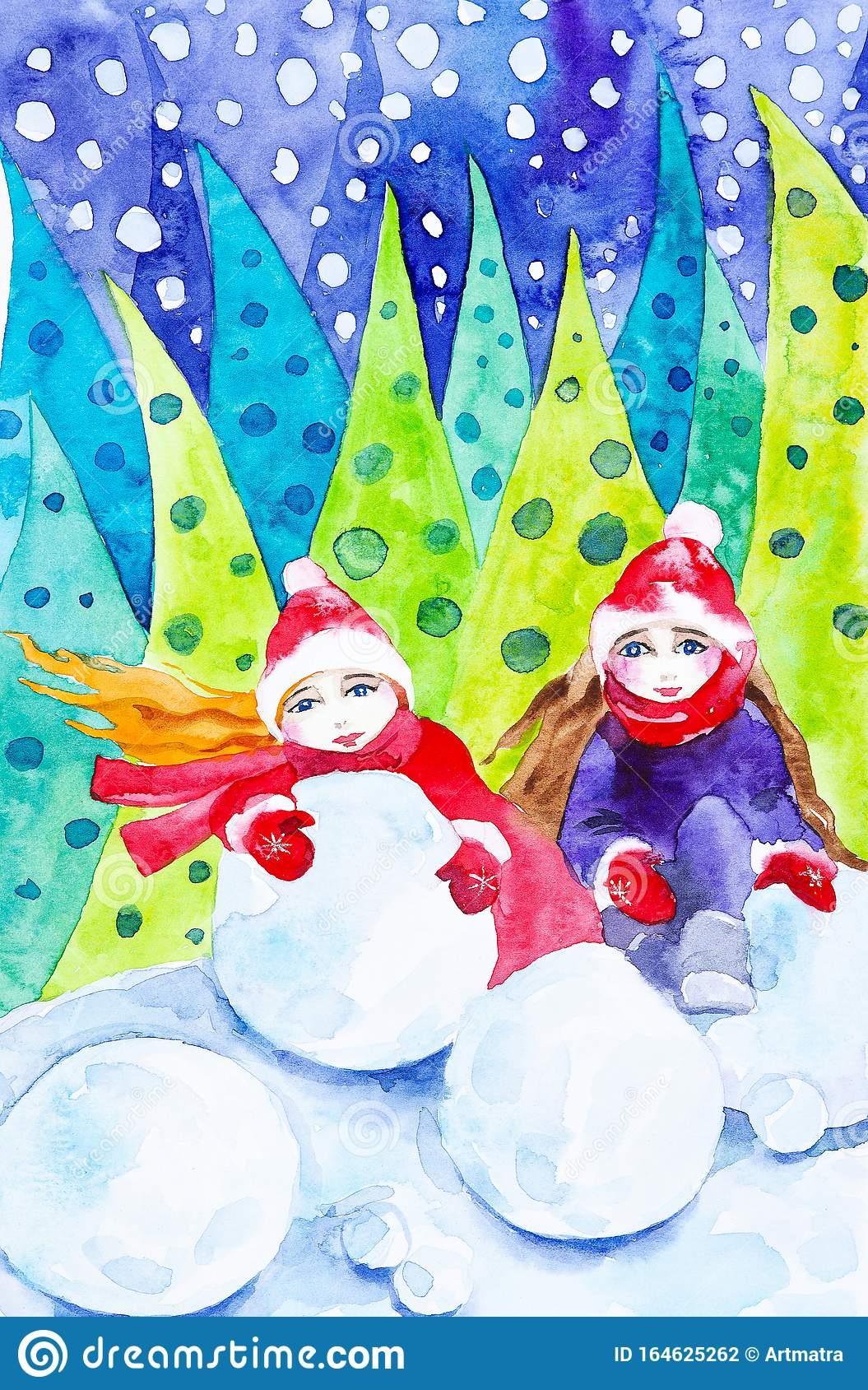 Two Girls Roll Snowballs For A Snowman In The Christmas