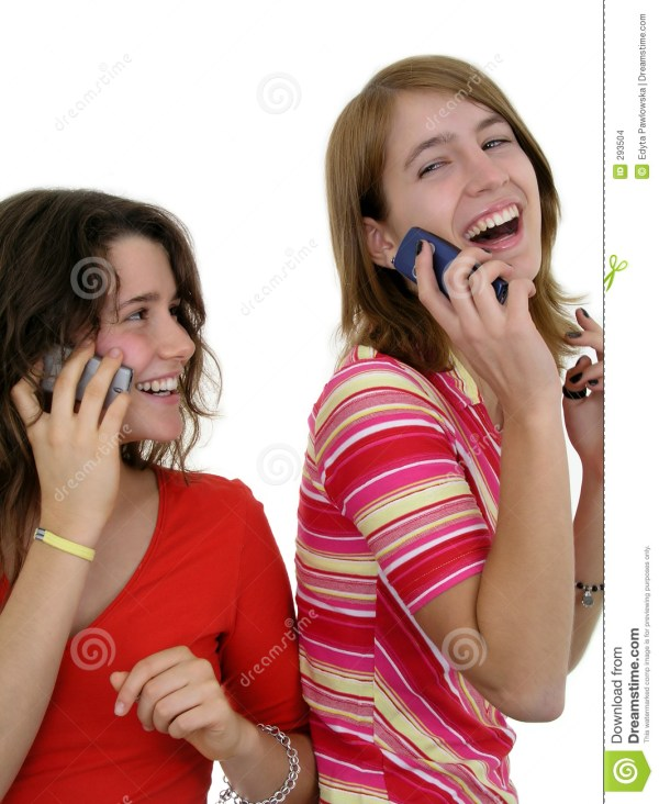 Two Girls Using Mobile Phones Stock Images Image 293504
