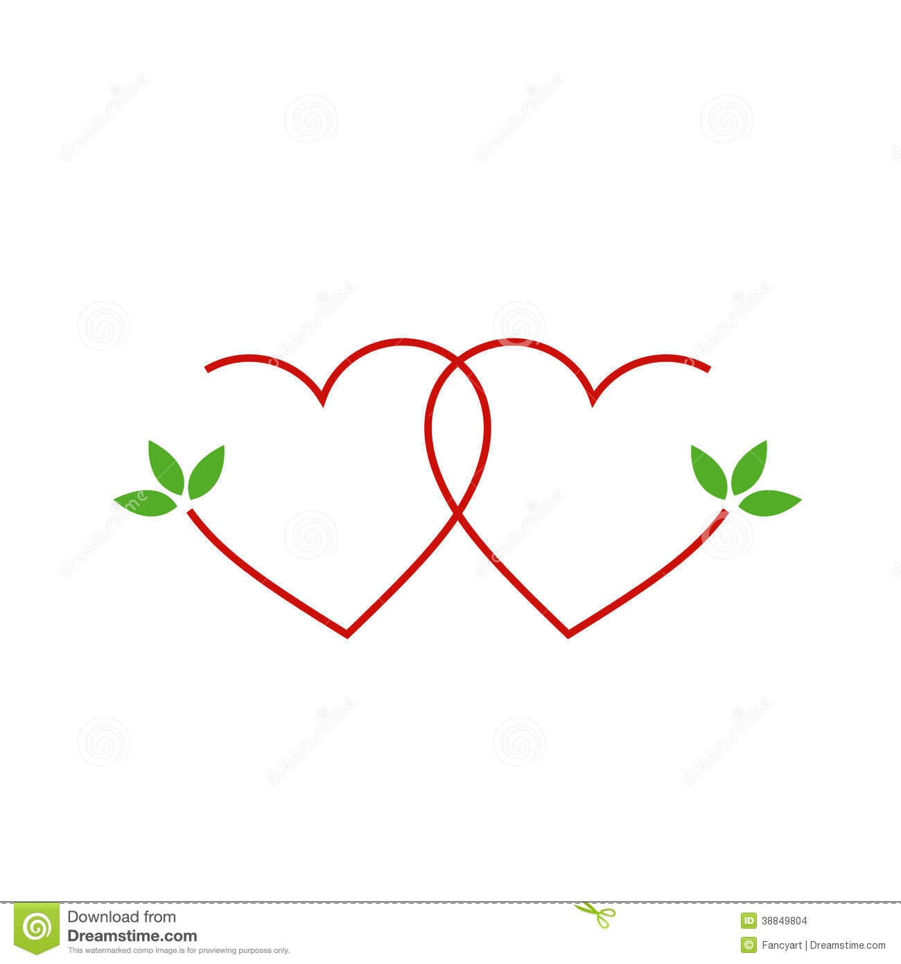 Two Hearts With Leaves Stock Vector Illustration Of Earth
