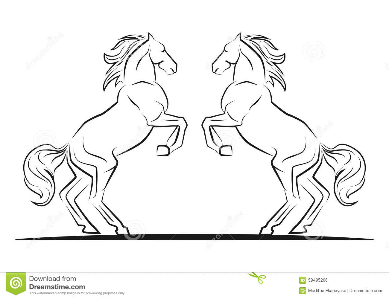 Two Jumping Horses Stock Vector