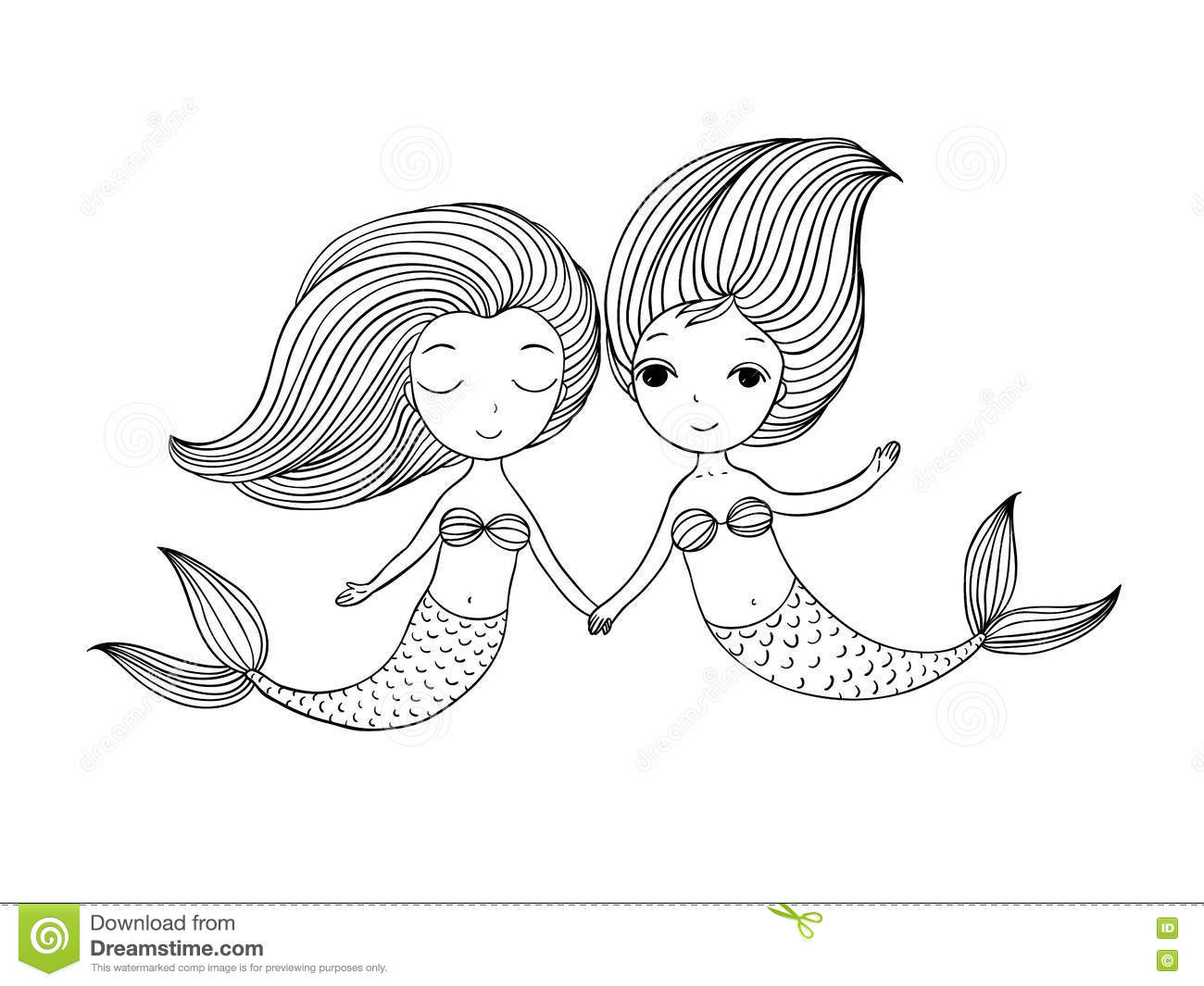 Two Little Cartoon Mermaid Siren Stock Vector