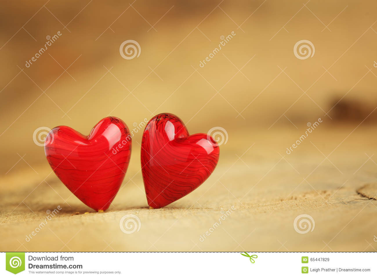 Two Little Red Hearts Stock Photo Image 65447829
