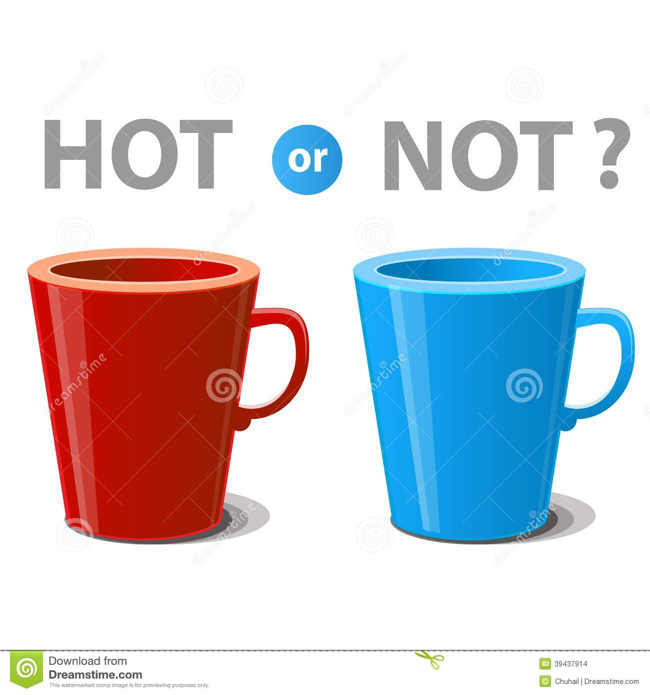 Two Mugs Illustrated Hot And Cold Drinks Stock Vector