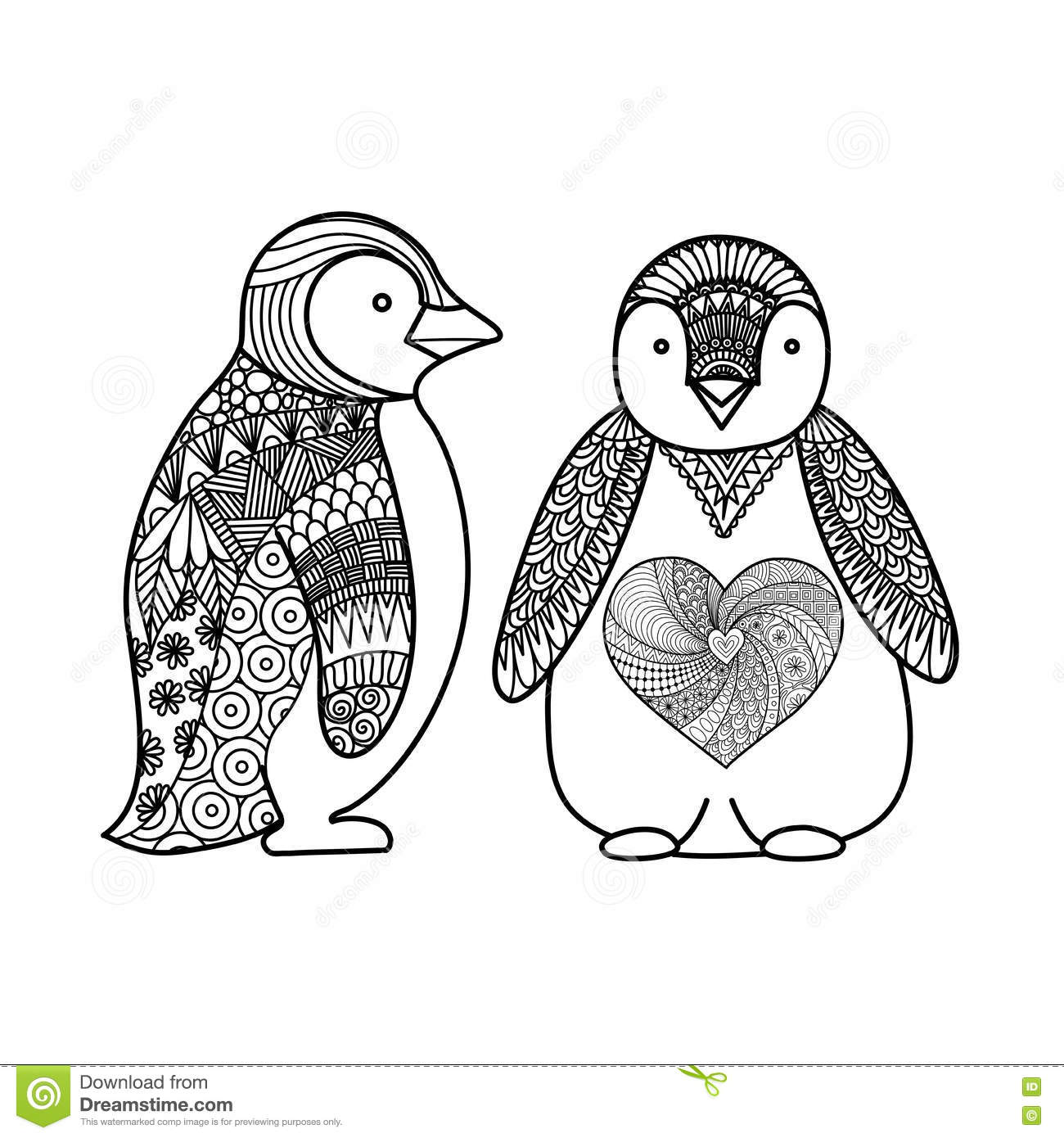 Two Penguins Doodle Design For Coloring Book For Adult T