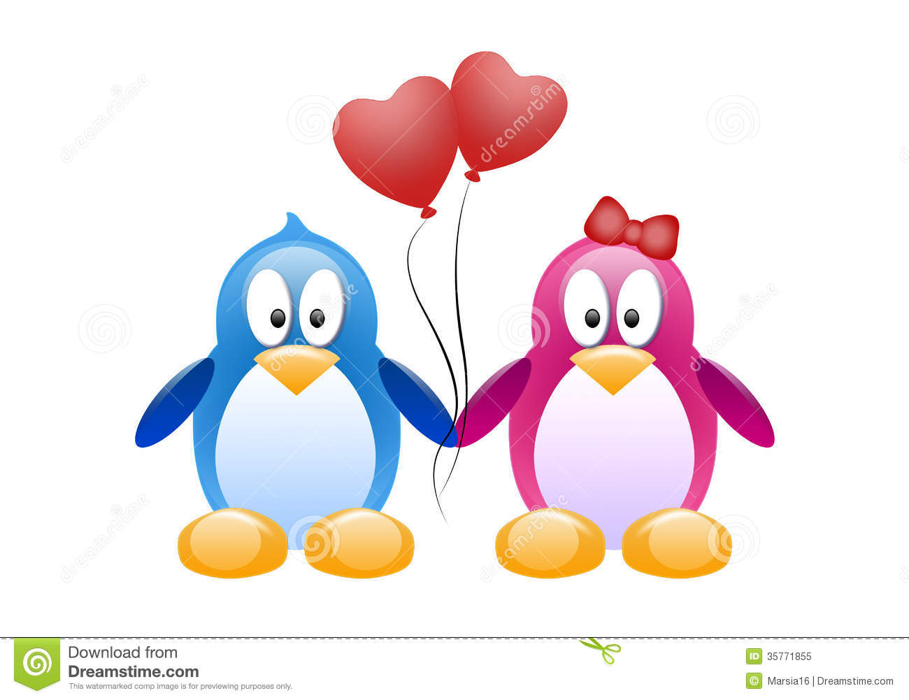 Two Penguins With Red Balloons Stock Illustration