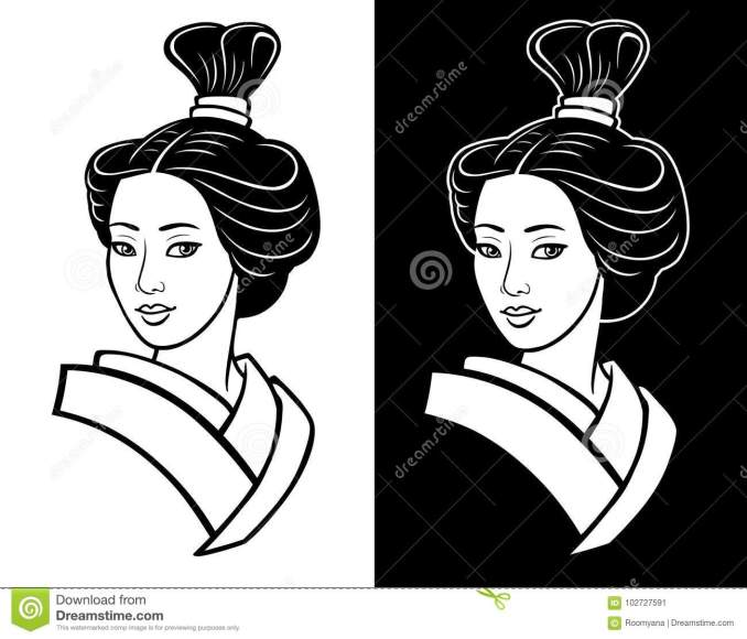 two portraits of the young japanese girl an ancient