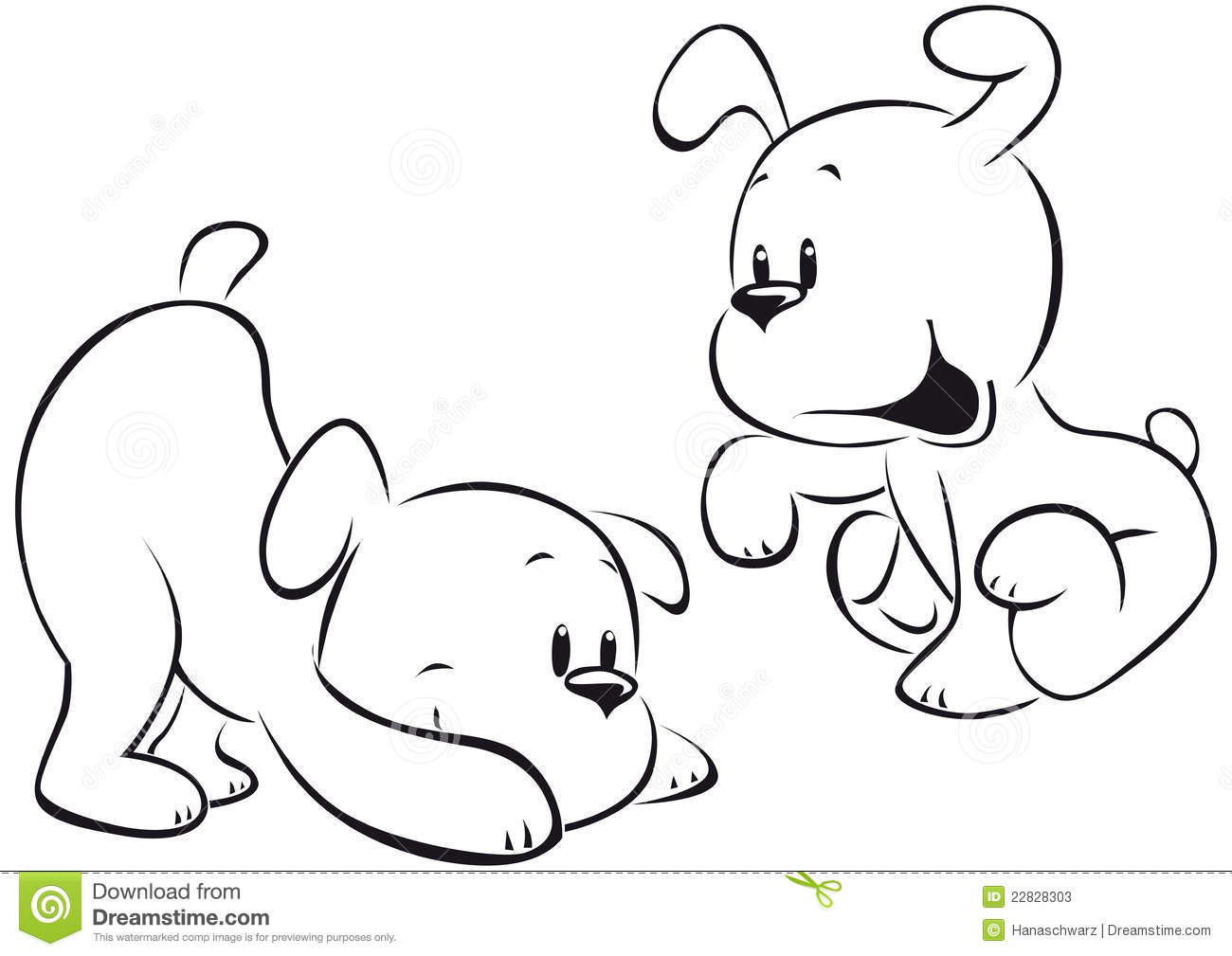 Two Puppies Sketch Stock Vector Illustration Of Beautiful