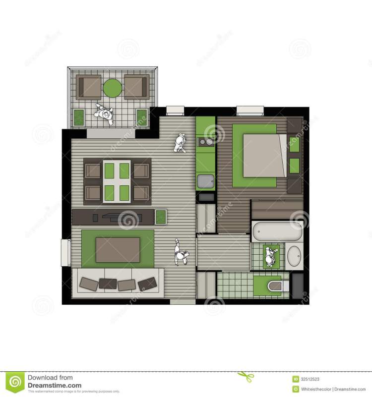 Two Rooms Apartment With Balcony Nature Interior Stock Illustration Illustration Of Beige Architect 32512523
