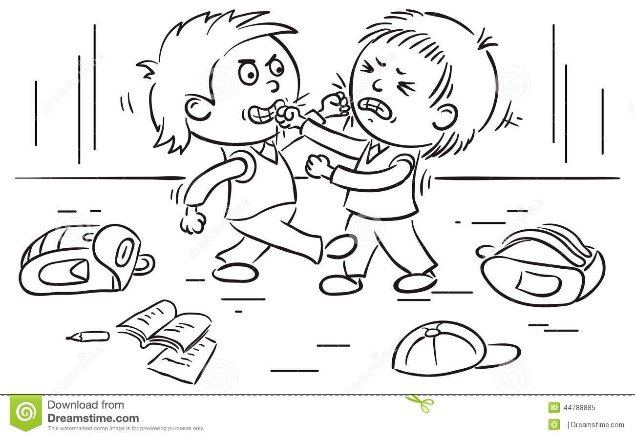 Two Schoolboys Are Fighting Stock Vector