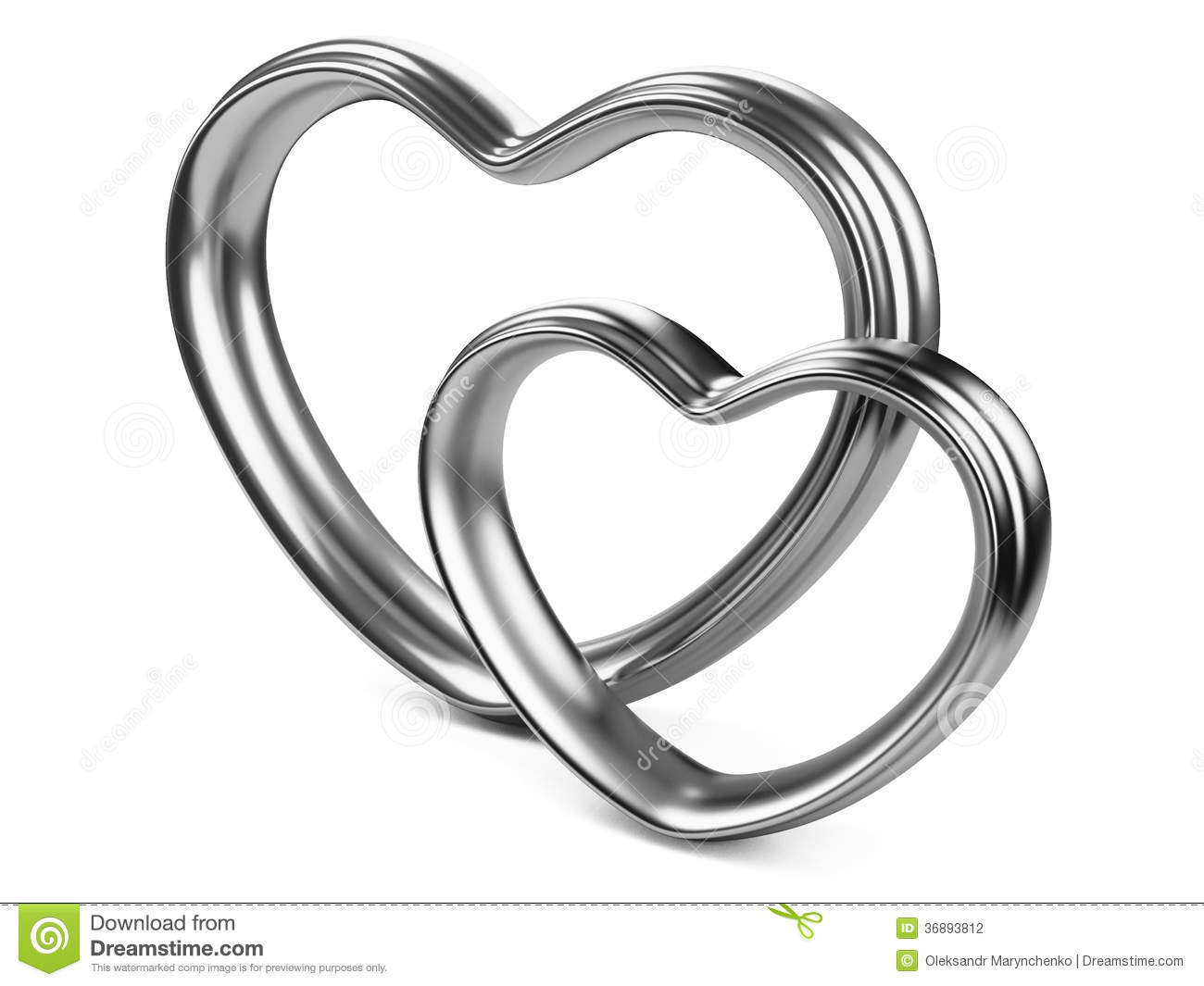 Two Silver Hearts Shape Stock Photography