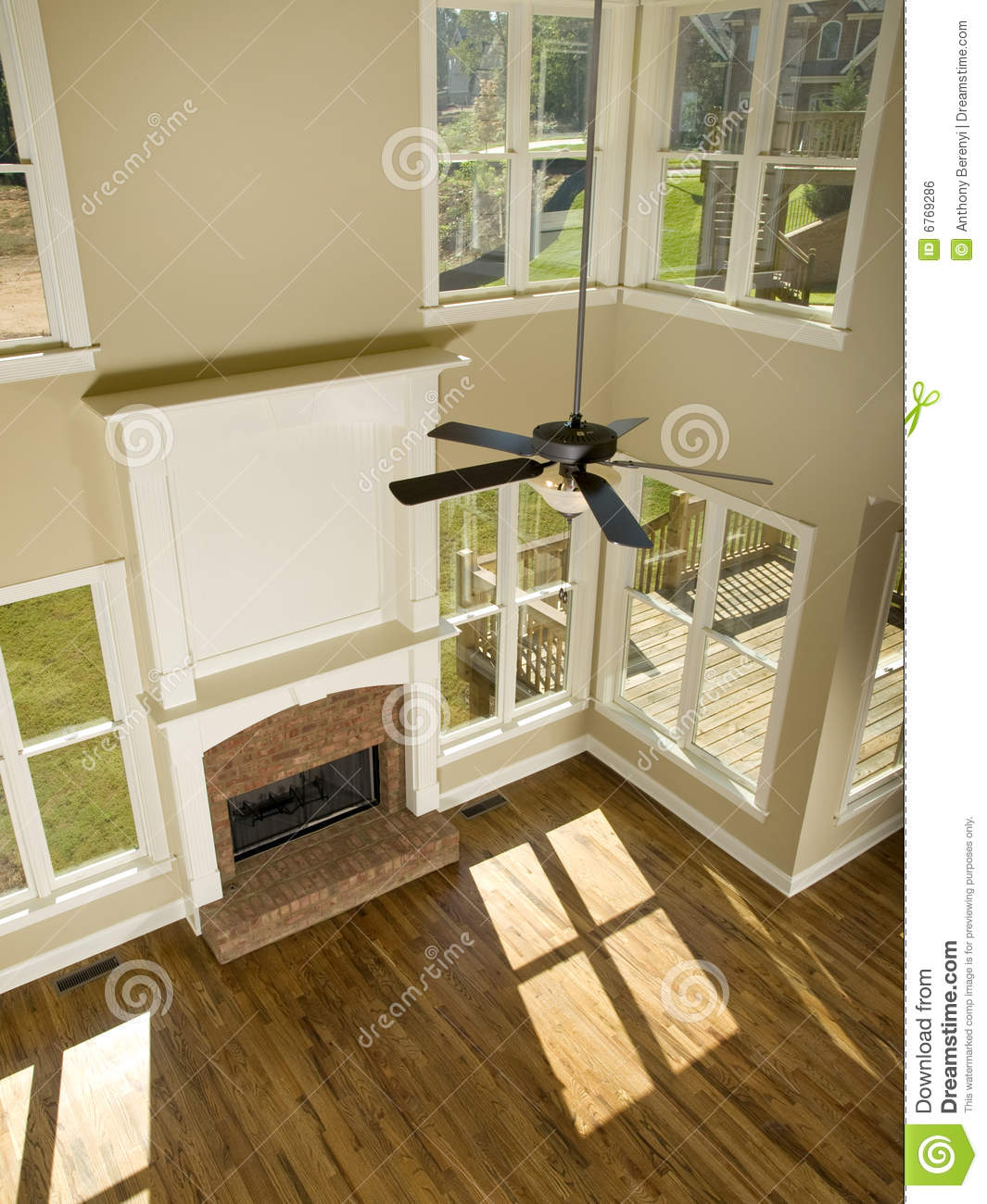 Two Story Living Room With Fireplace From Above Royalty