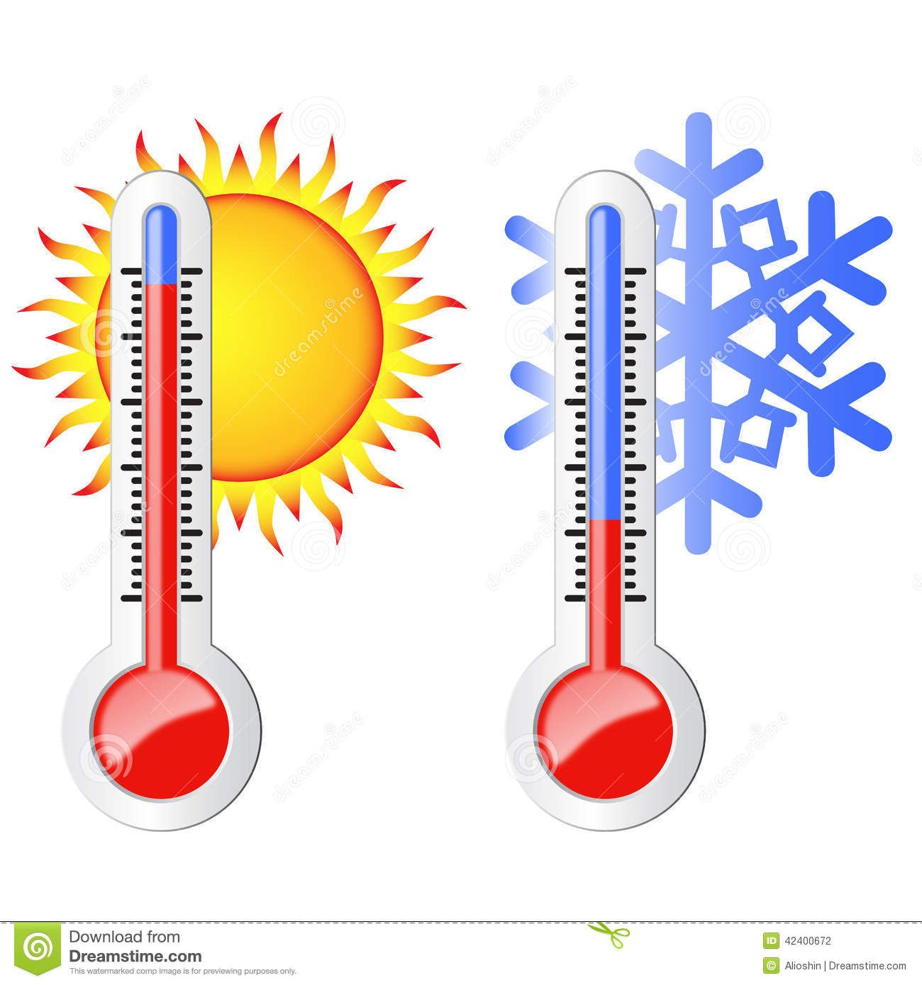 Two Thermometers Sun And Snowflake Stock Vector