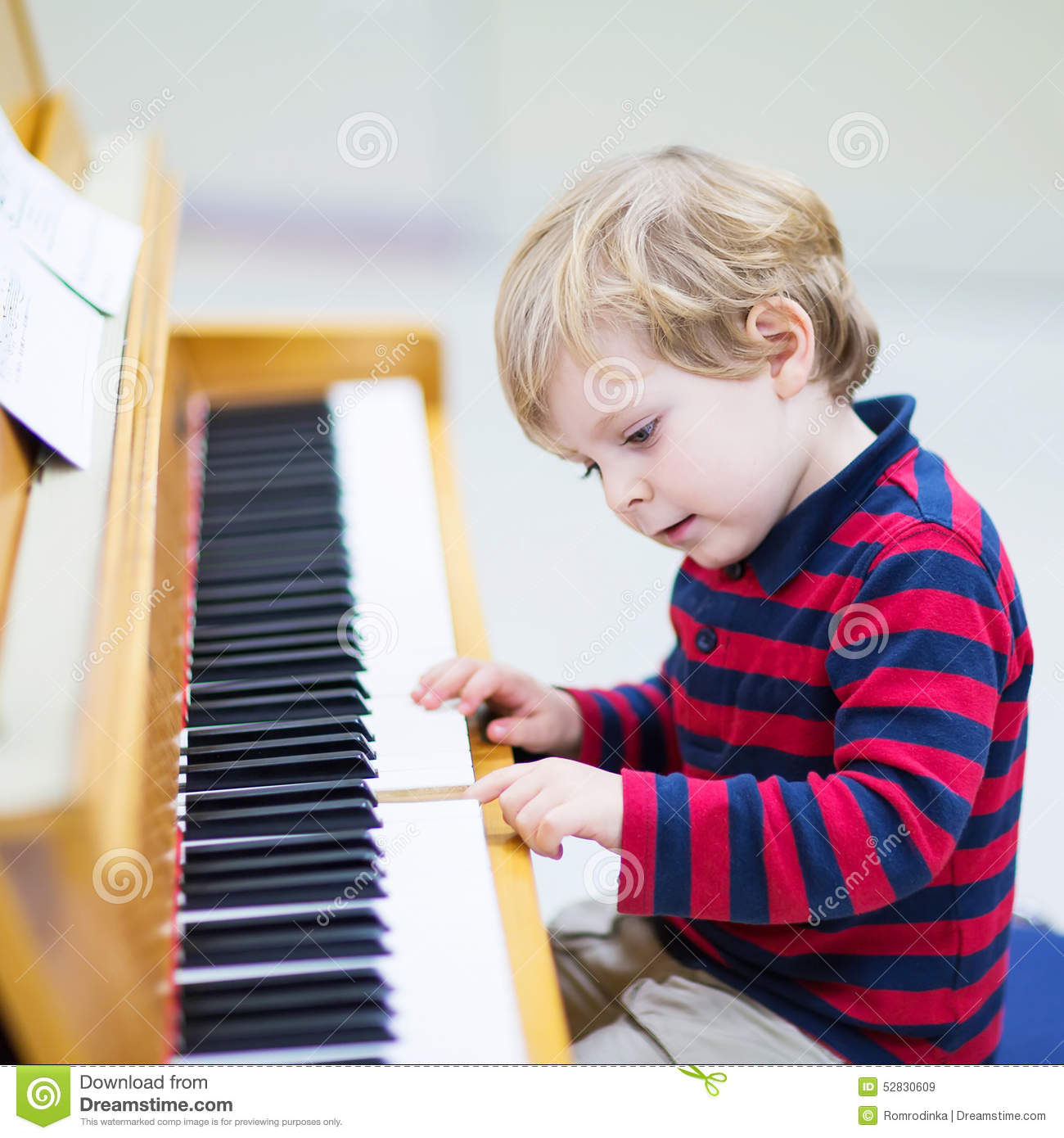 Two Years Old Toddler Boy Playing Piano Music Schoool Stock Image