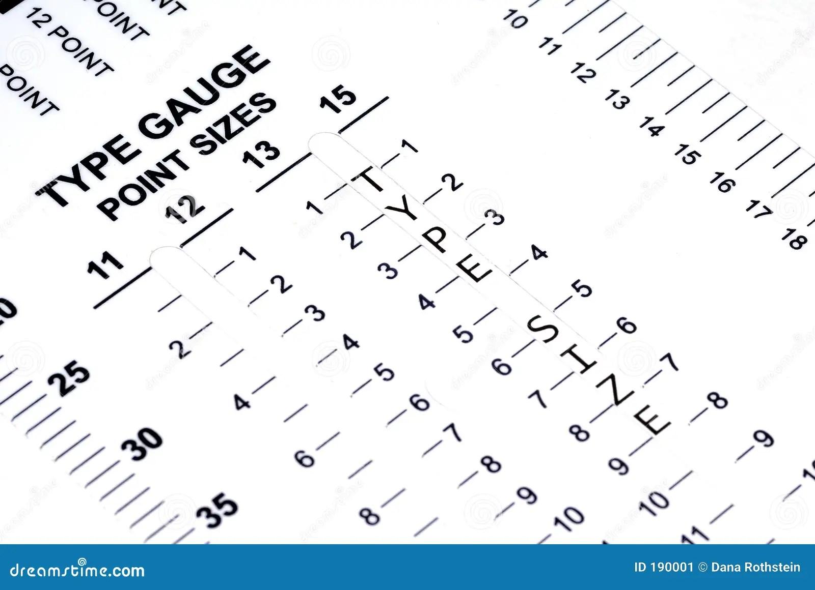 Type Gauge Stock Image Image Of Type Size Design Print