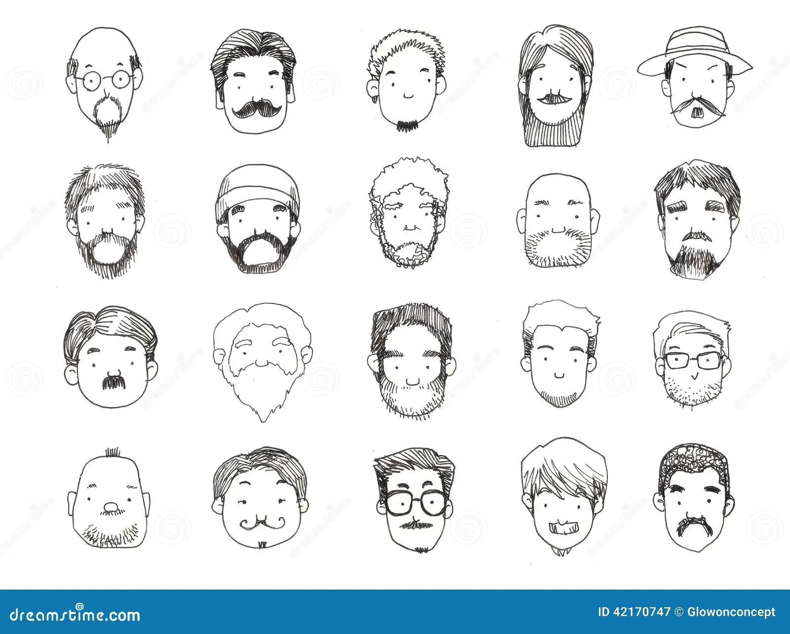 Types Avec Lillustration De Barbe Illustration Stock